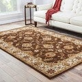 Lucina Handmade Floral Brown/ Gold Area Rug (2' X 3')