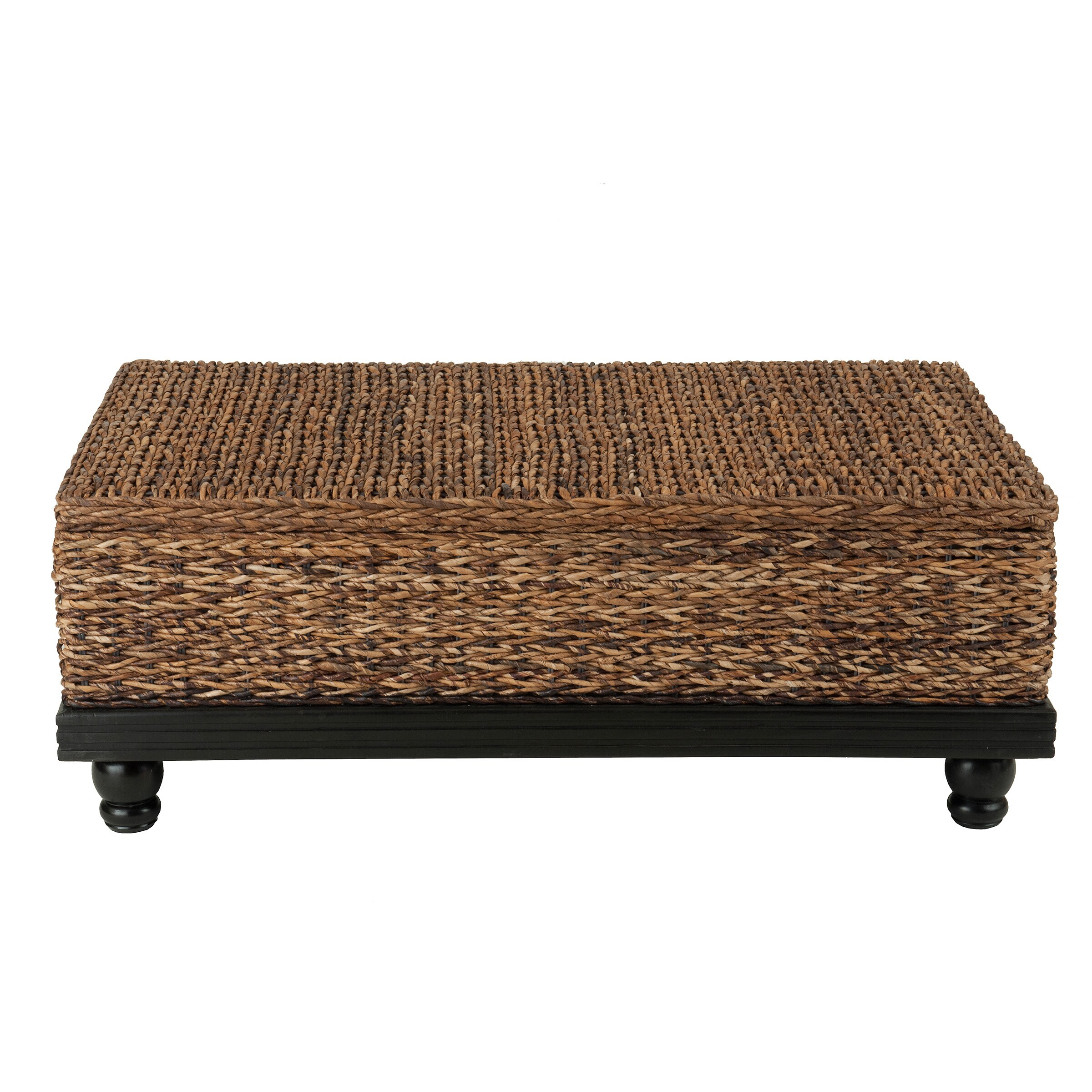 Meticulously Woven Brown Abaca Coffee Table With Storage Free Shipping Today 15521164