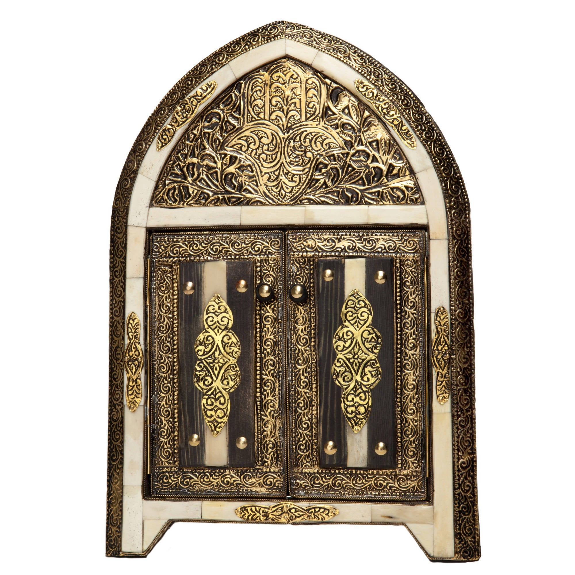 Handmade Arched White Bone Moroccan Mirror With Doors Morocco Free Shipping Today 8187979
