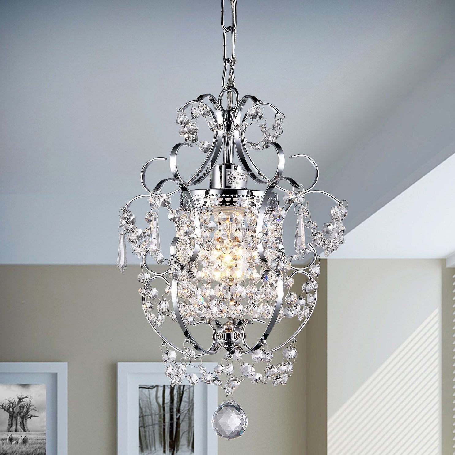 Shop Silver Orchid Single-light Crystal Chandelier - On Sale - Free ...
