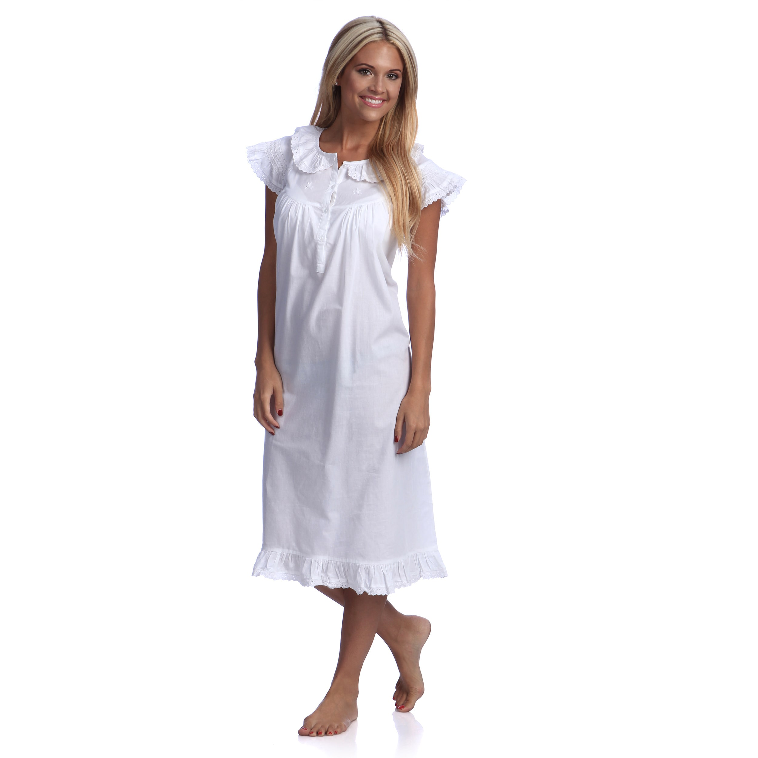 Shop Embroidered Nightgown with Cap Sleeves - On Sale - Free ...