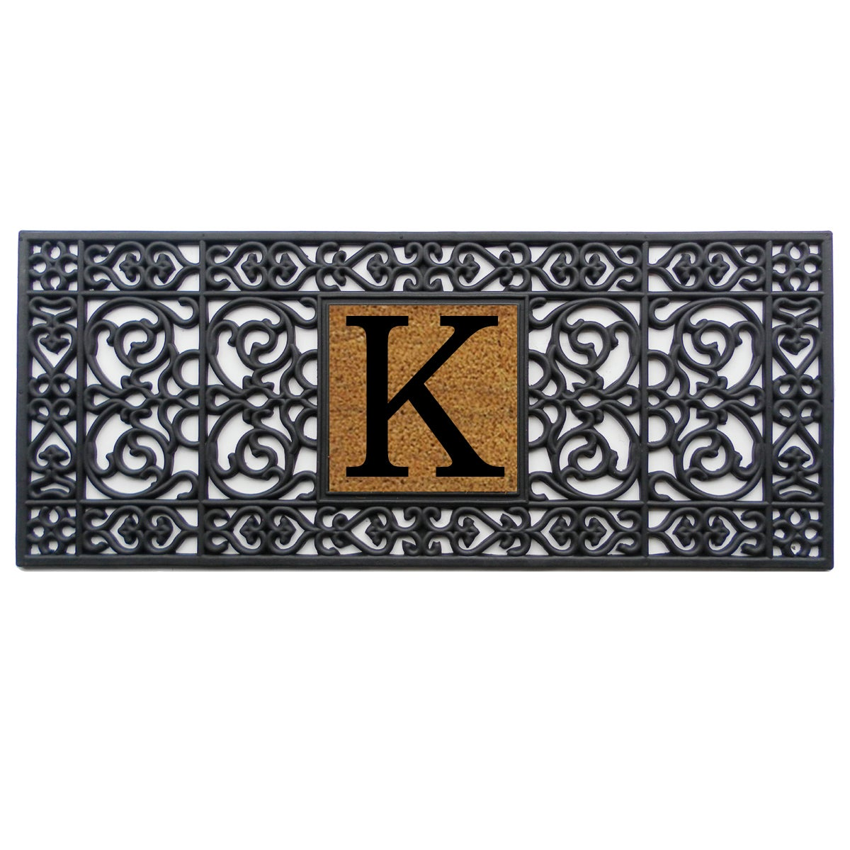 Black Rubber Monogrammed Doormat (1'5 x 3'5) - Free Shipping On ...
