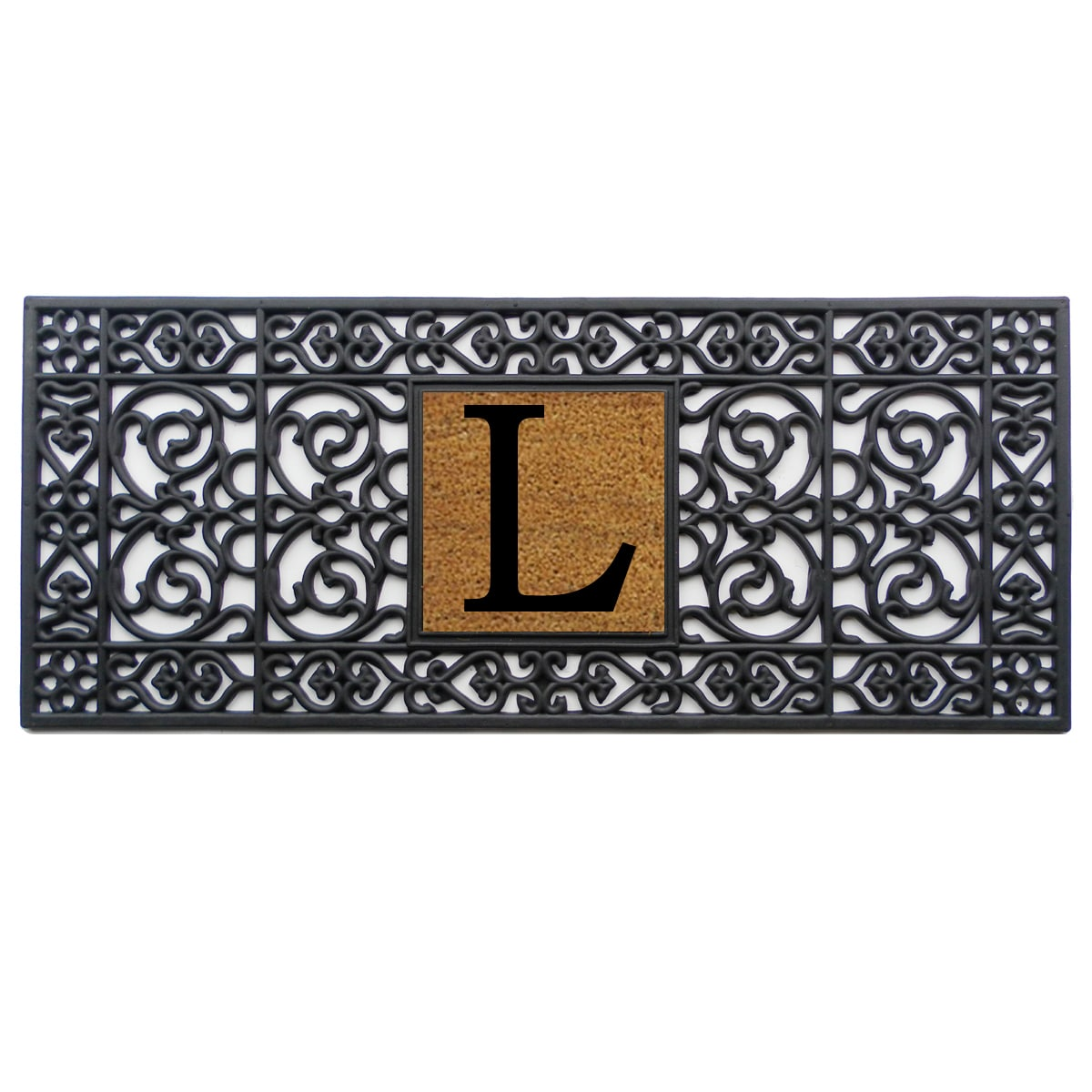 Black Rubber Monogrammed Doormat (1'5 x 3'5) - Free Shipping On Orders Over  $45 - Overstock.com - 15535254