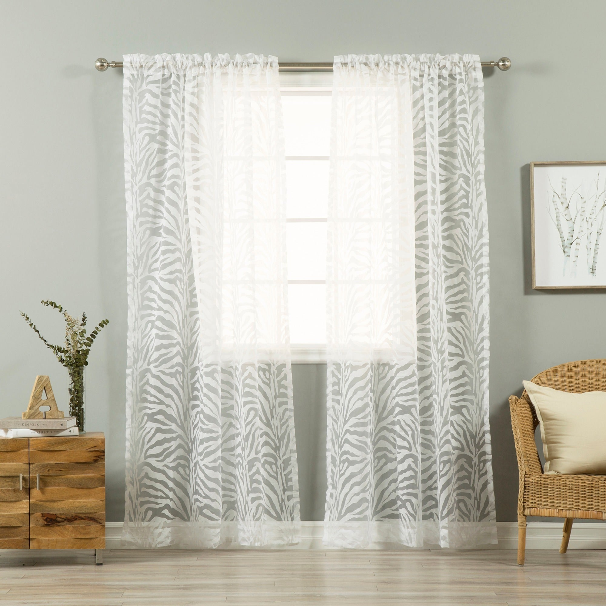 Aurora Home Zebra Burnout Sheer 84 Inch Rod Pocket Curtain Pair