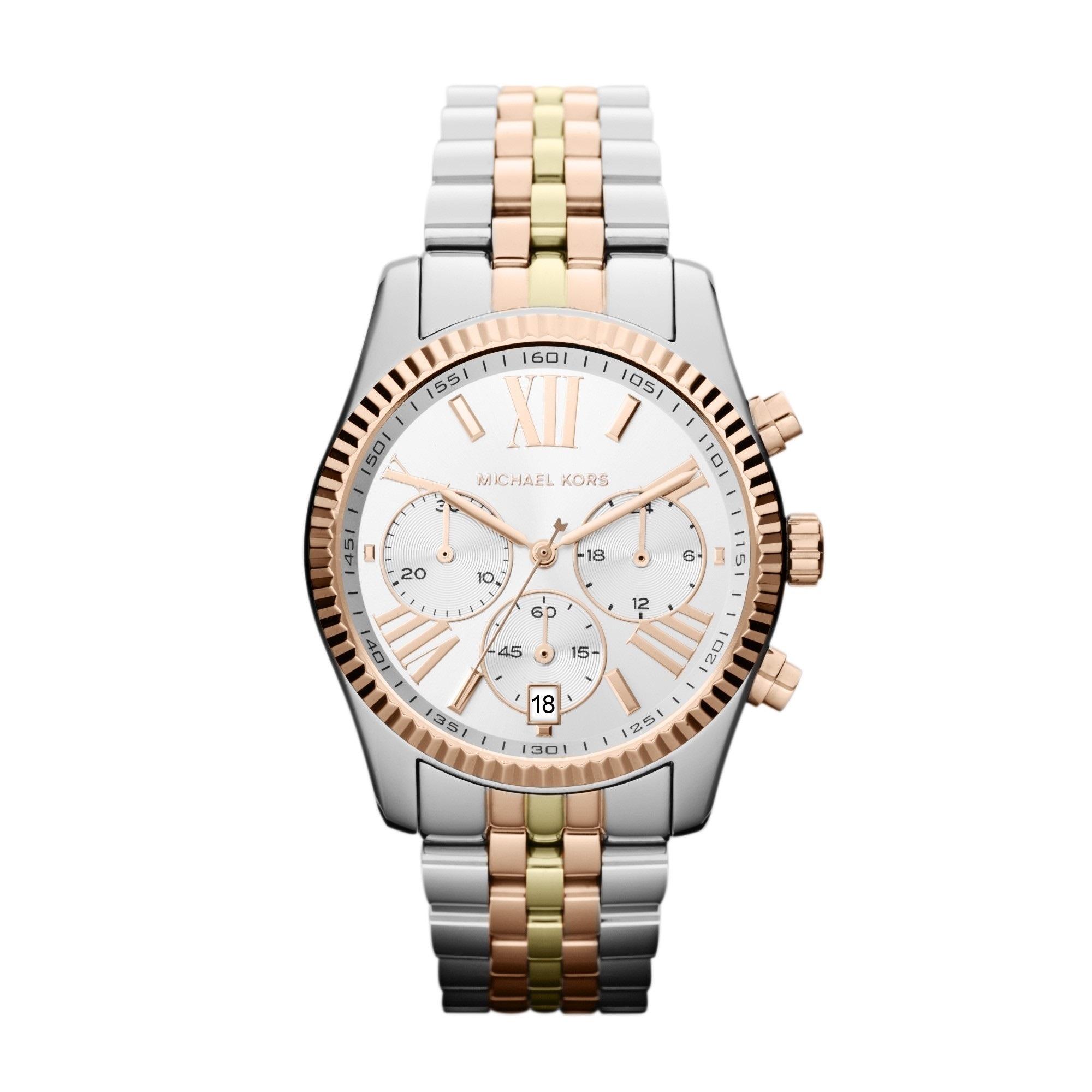 9f62e527be08 Shop Michael Kors Women s Lexington MK5735 Watch - WHITE GOLD - WHITE GOLD  - Free Shipping Today - Overstock - 8202470