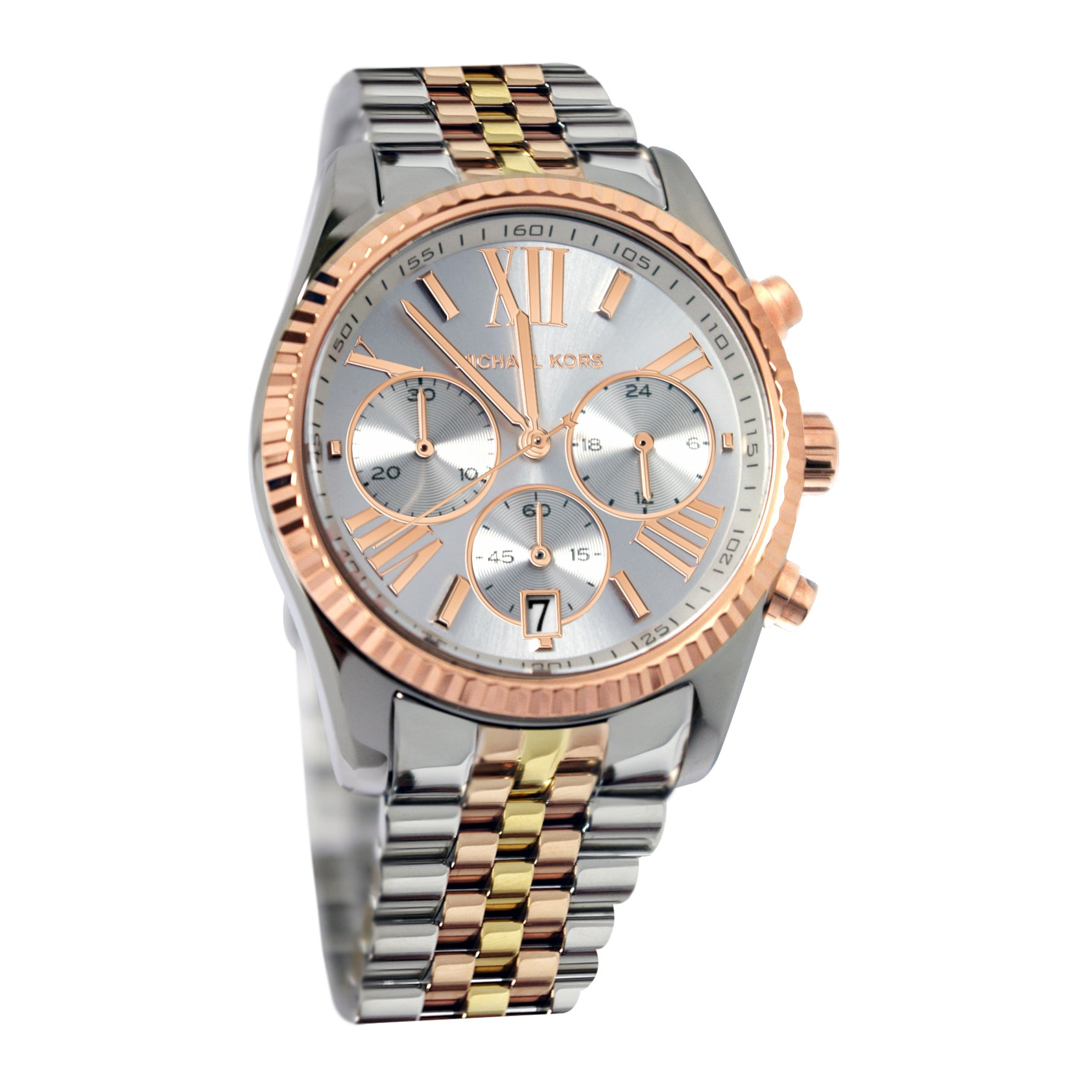 f19d90f8793a Shop Michael Kors Women s Lexington MK5735 Watch - WHITE GOLD - WHITE GOLD  - Free Shipping Today - Overstock - 8202470