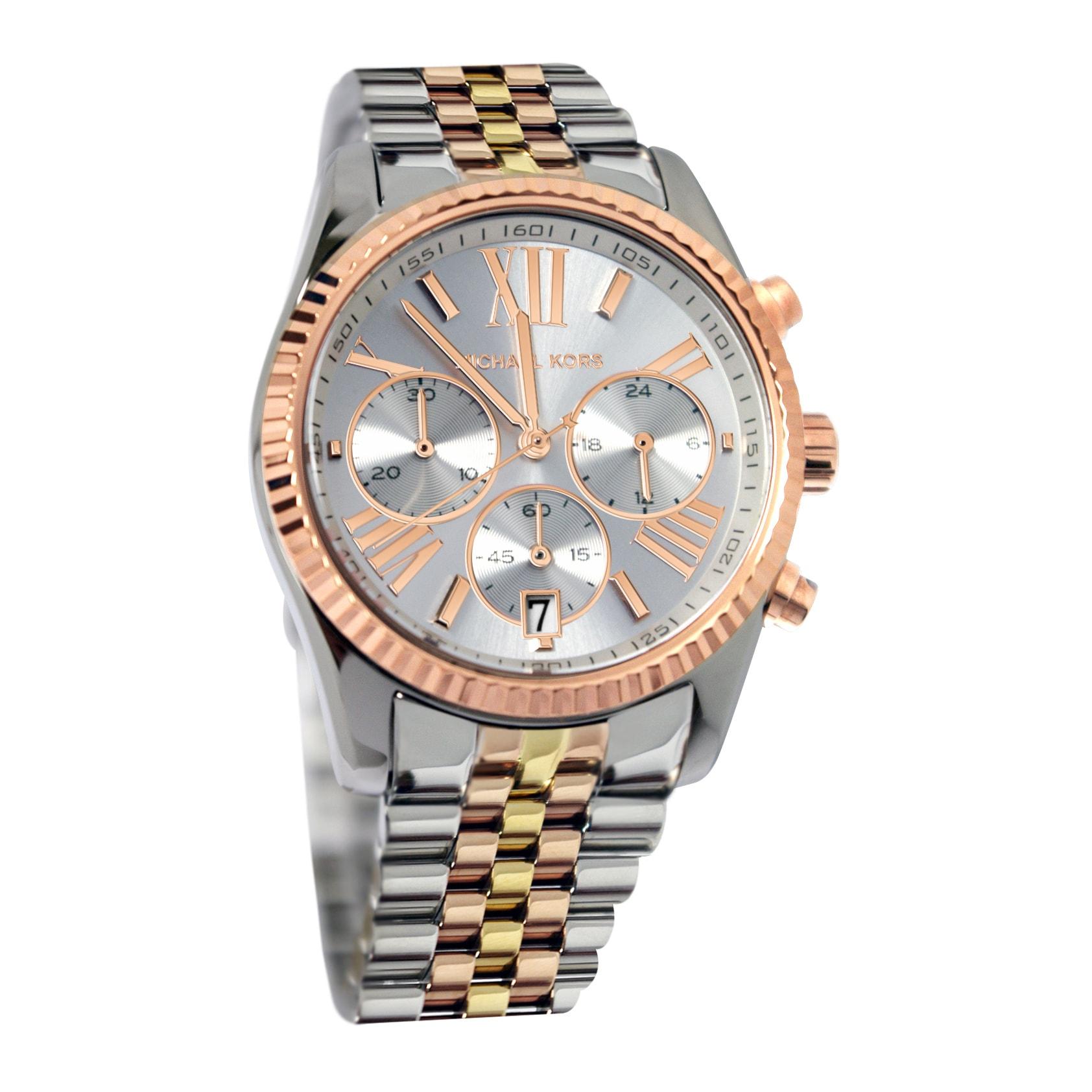 1970e11378ed Shop Michael Kors Women s Lexington MK5735 Watch - WHITE GOLD - WHITE GOLD  - Free Shipping Today - Overstock - 8202470