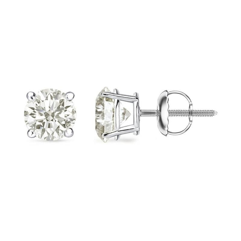 b258b4652 18k White Gold 1/2 to 2ct TW Round Clarity Enhanced Diamond Stud Earrings  by Auriya