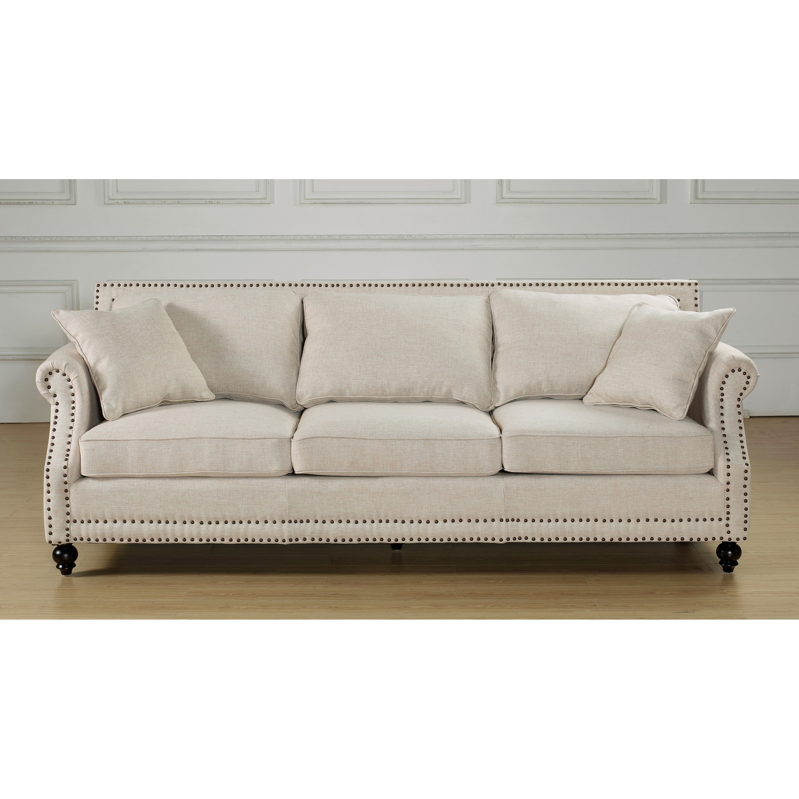 Attrayant Shop Camden Beige Linen Sofa   Free Shipping Today   Overstock.com   8214361