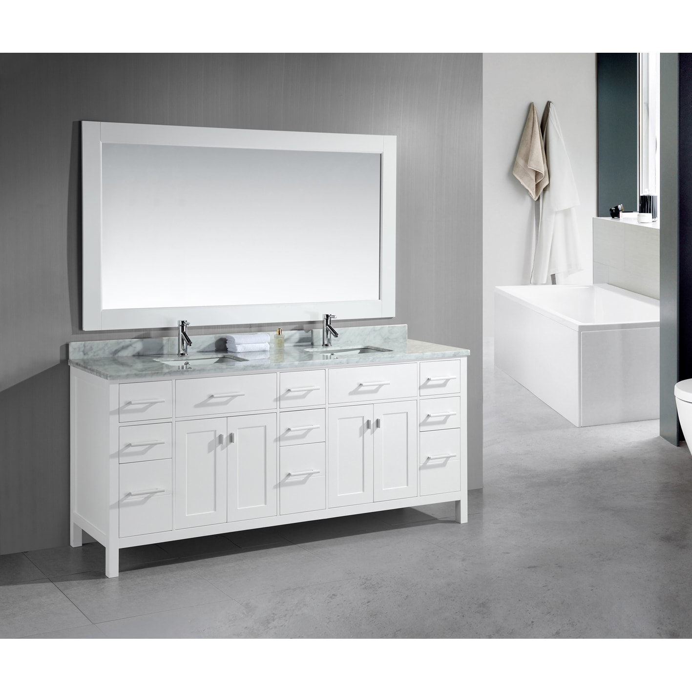 Shop Design Element London 78-inch Double Sink White Vanity with ...