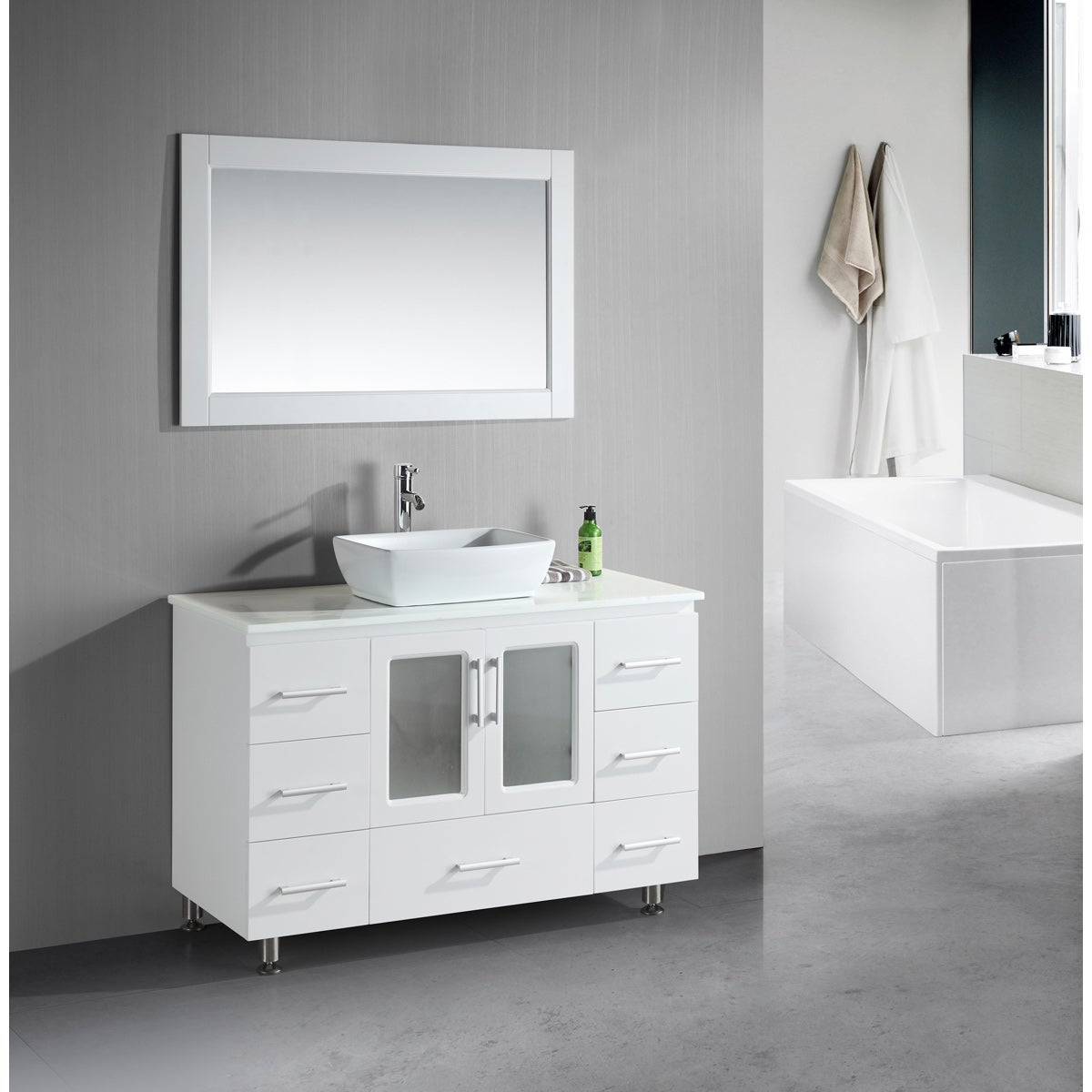 Design Element Stanton 48 Inch Single Vessel Sink White Vanity Free Shipping Today 8223764