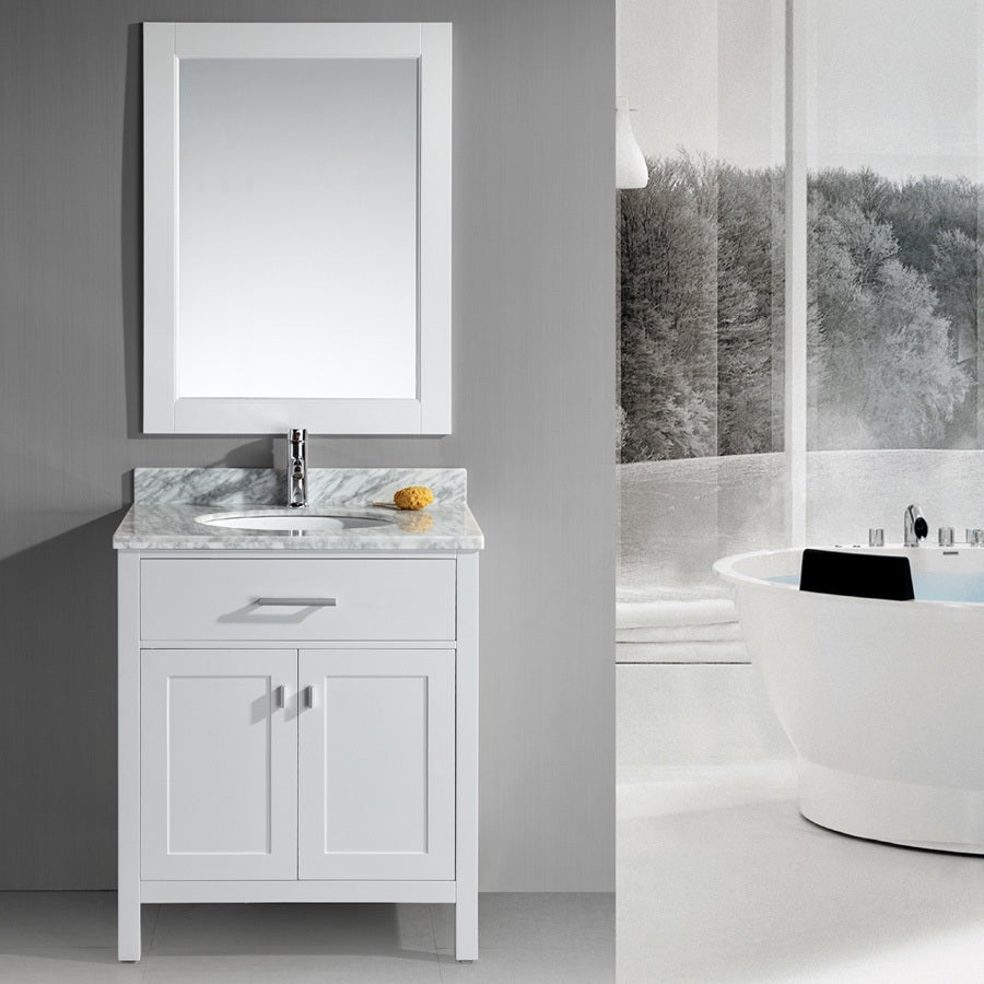 Shop Design Element London 30-Inch Single Sink White Bathroom Vanity ...