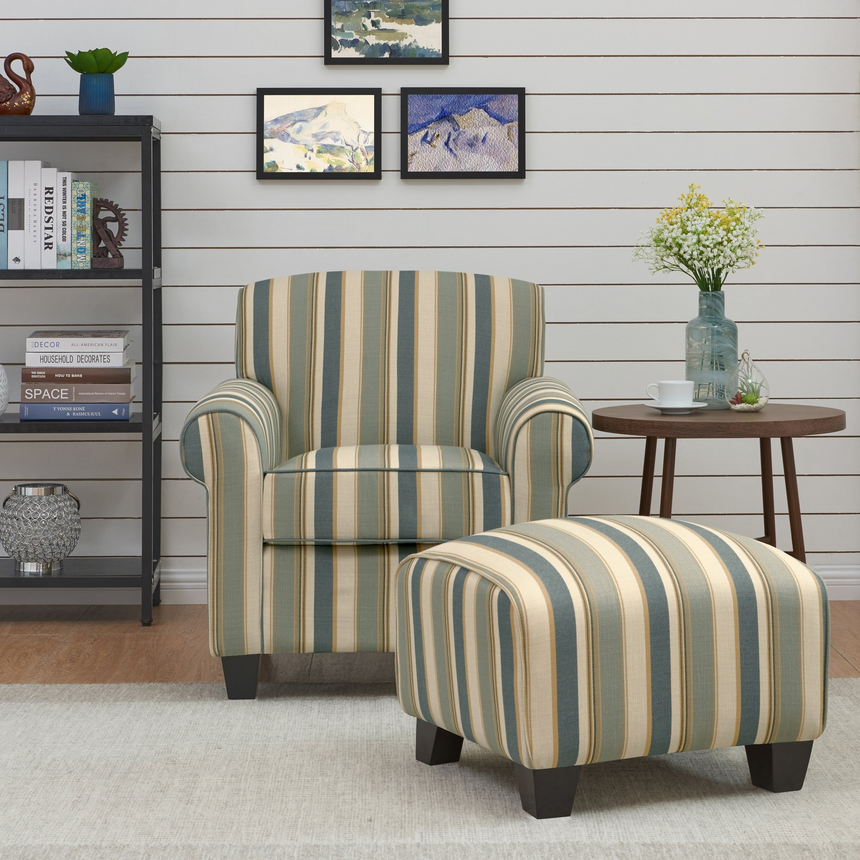 bbd52397a756 Shop Handy Living Mira Coastal Blue Stripe Arm Chair and Ottoman ...