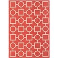 "Safavieh Indoor/ Outdoor Courtyard Squares-and-circles Red/ Bone Rug (5'3"" x 7'7"")"