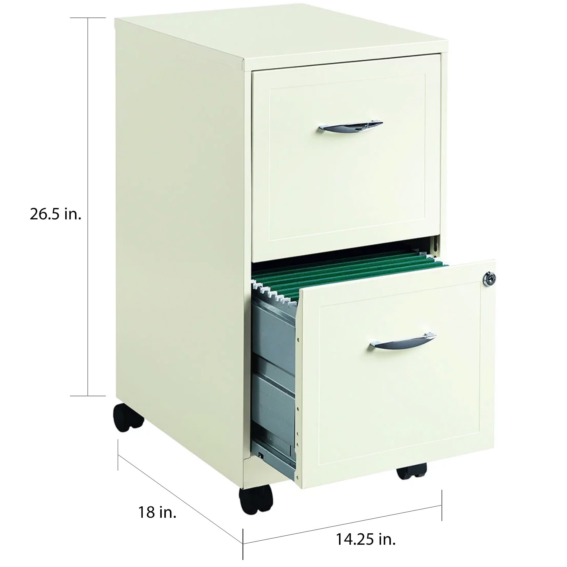 E Solutions 18 Deep 2 Drawer Mobile File Cabinet Pearl White Free Shipping Today 8225522