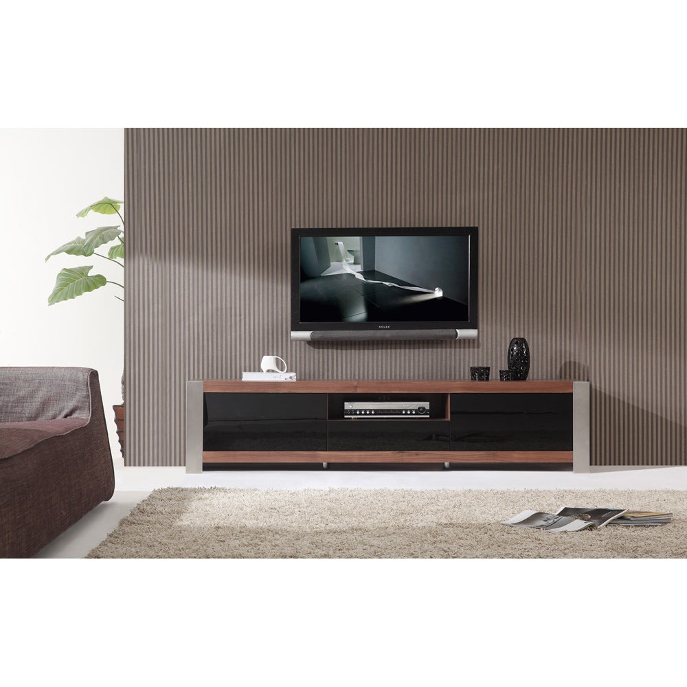 Ayla Light Walnut Stainless Steel Ir Compatible Tv Stand Free Shipping Today 8227392