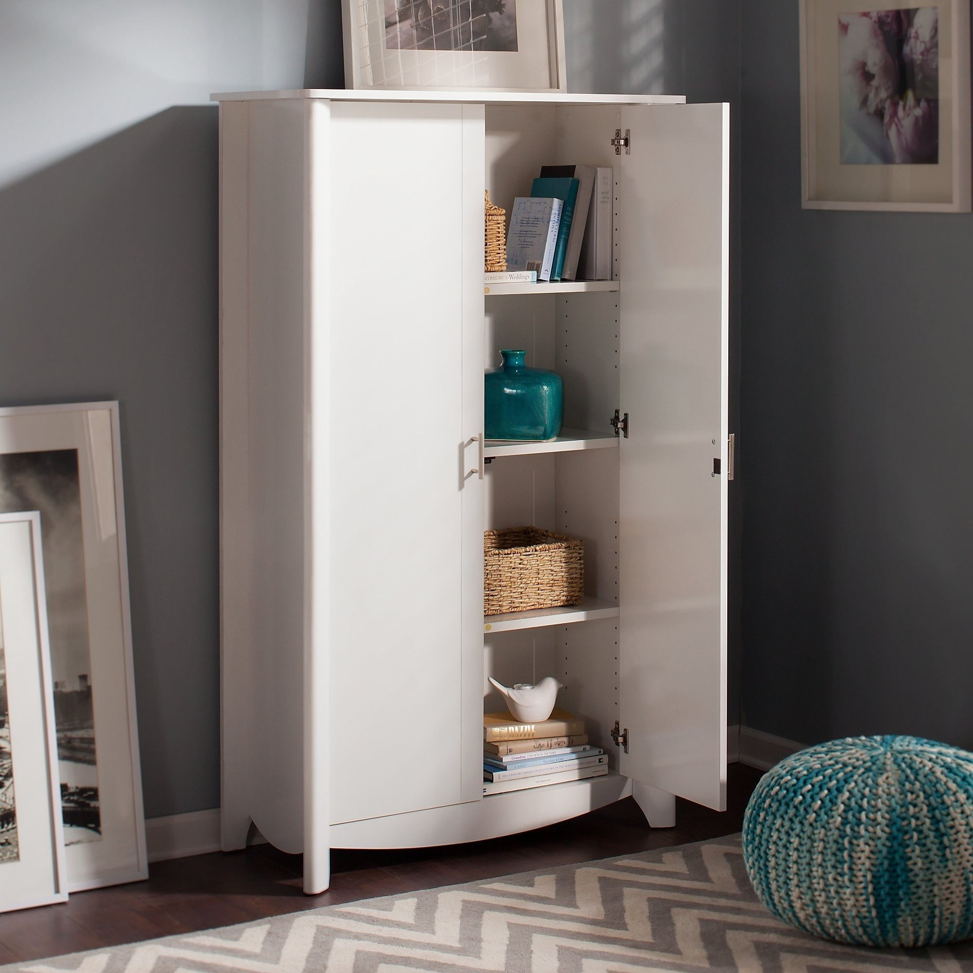 Bush Furniture Aero Tall Storage Cabinet With Doors In Pure White