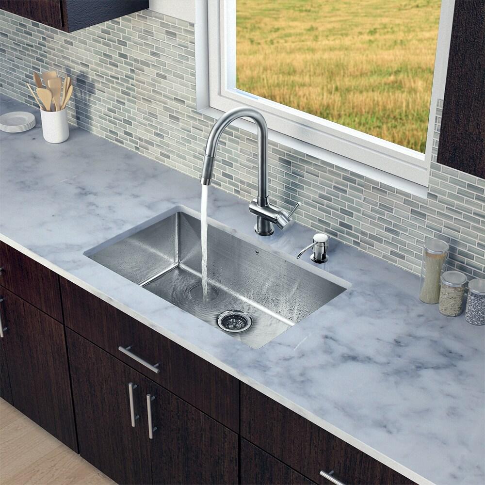 """Shop VIGO All-In-One 30"""" Eldridge Stainless Steel Undermount Kitchen ..."""