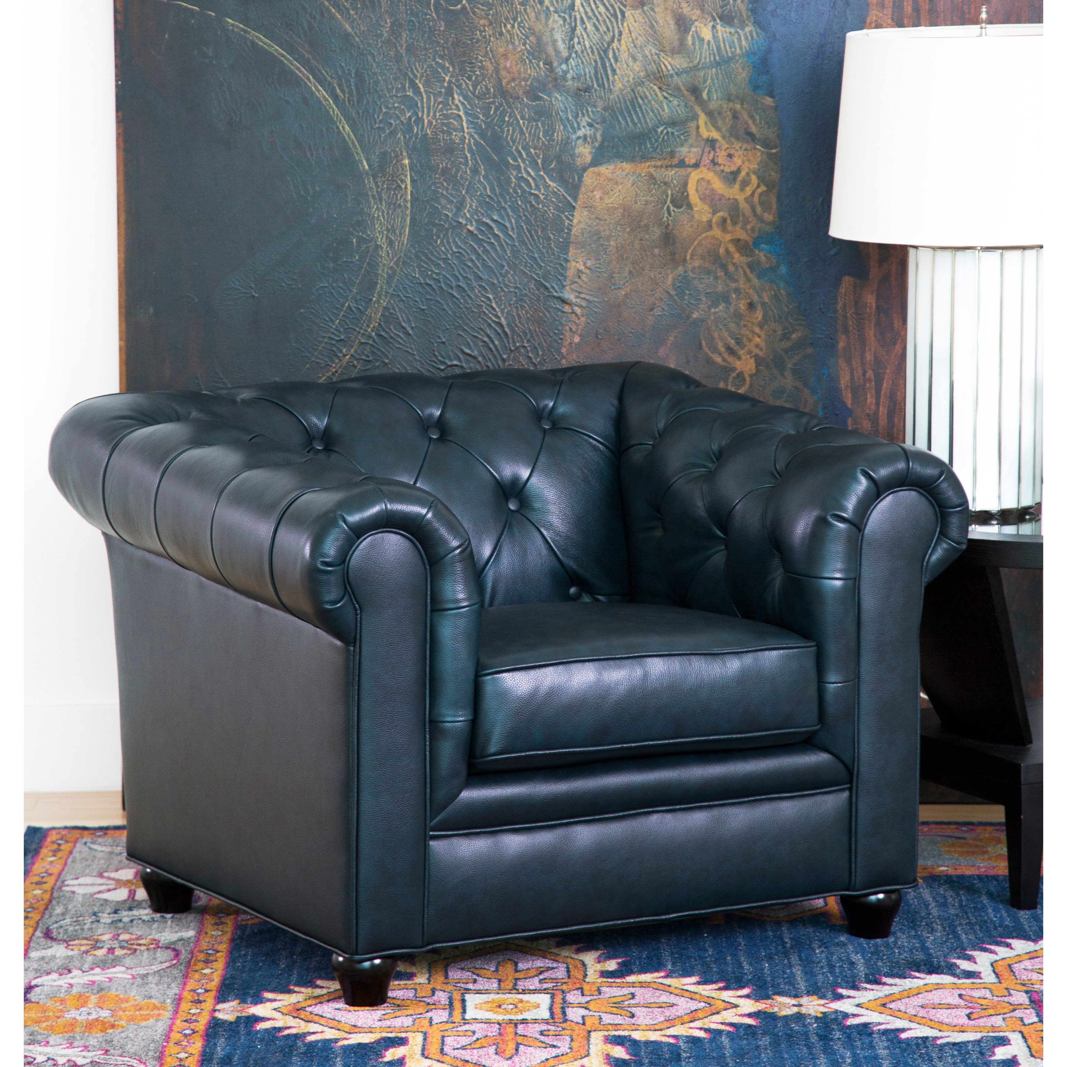 Shop Abbyson Tuscan Top Grain Leather Chesterfield Armchair   On Sale    Free Shipping Today   Overstock.com   8230102