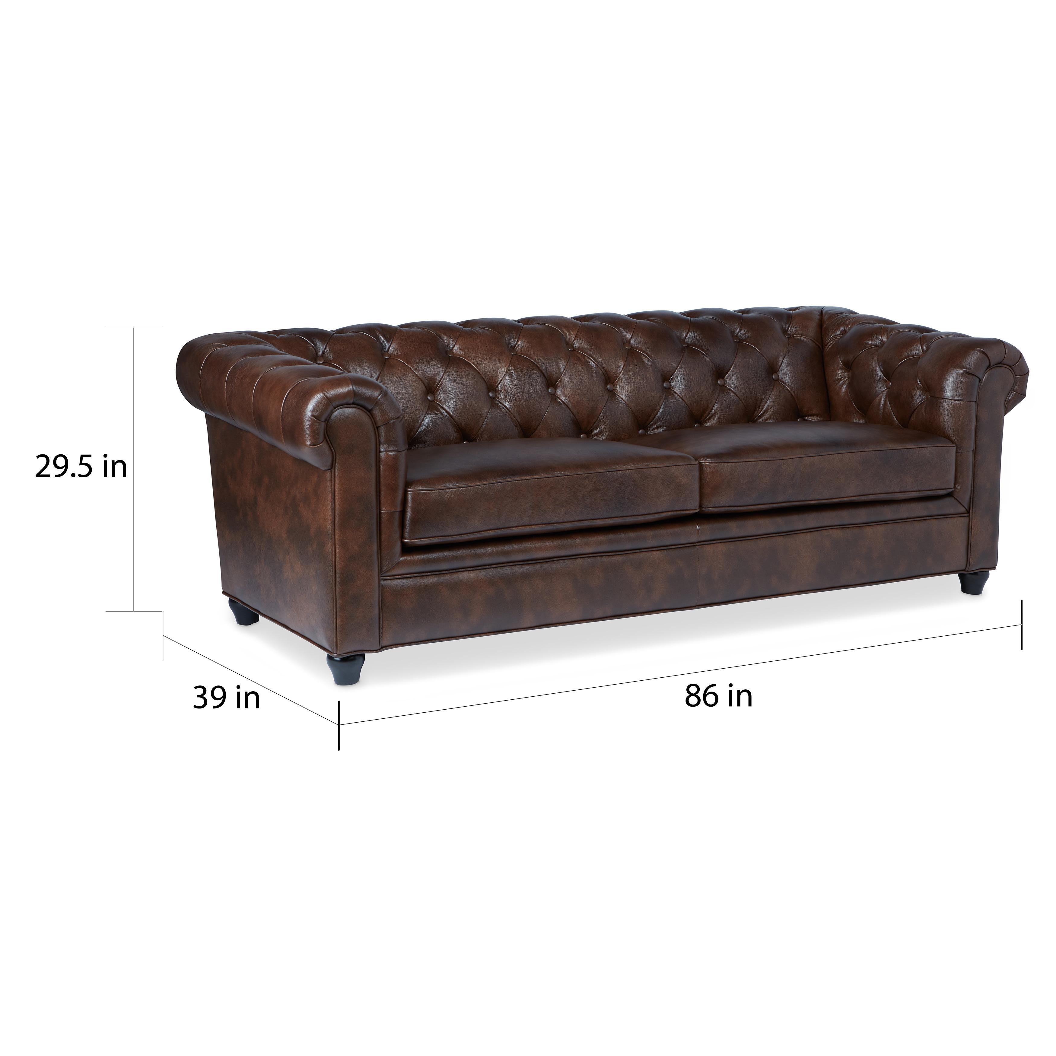 Shop Abbyson Tuscan Top Grain Leather Chesterfield Sofa - On Sale ...