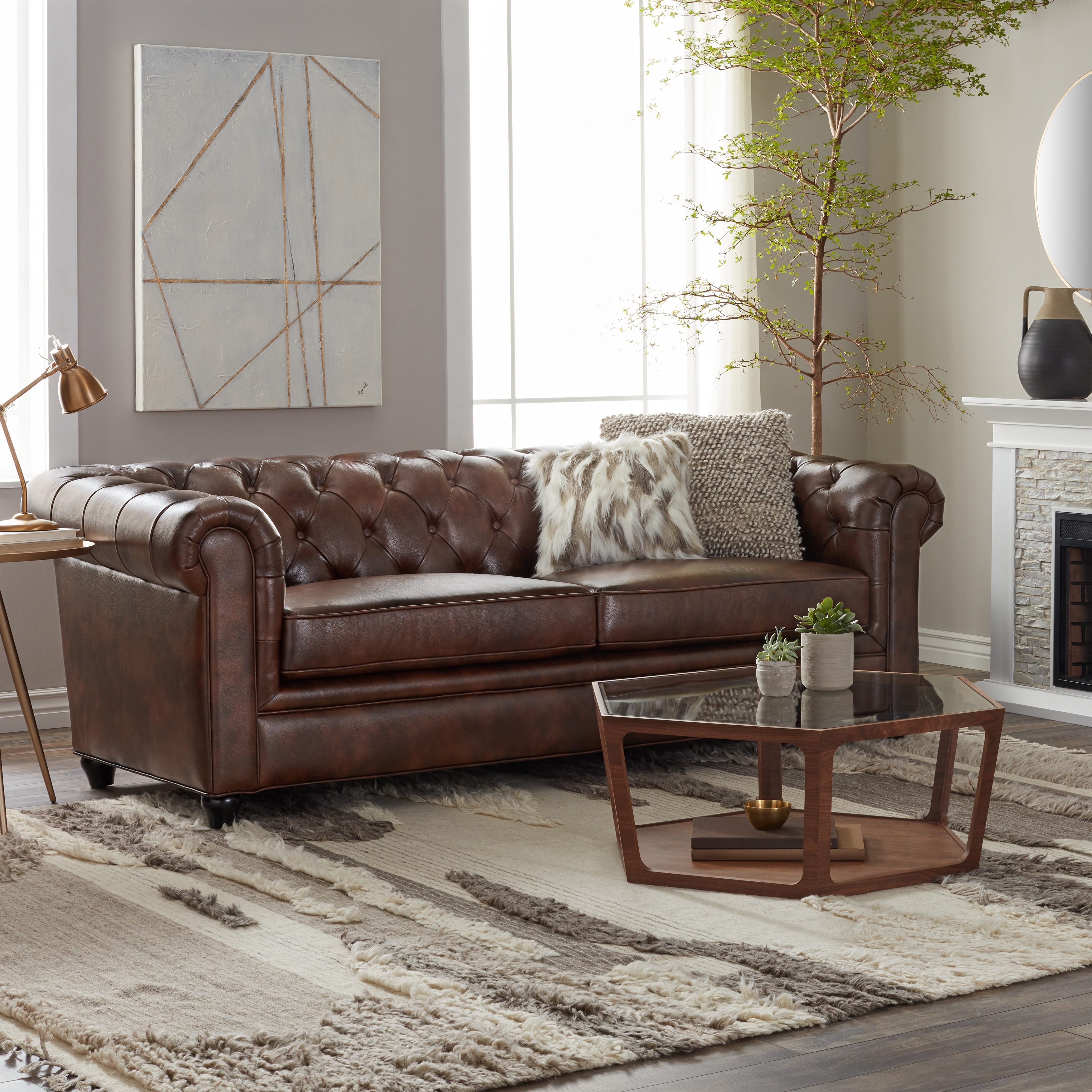 Chesterfield Sofa abbyson tuscan top grain leather chesterfield sofa free shipping