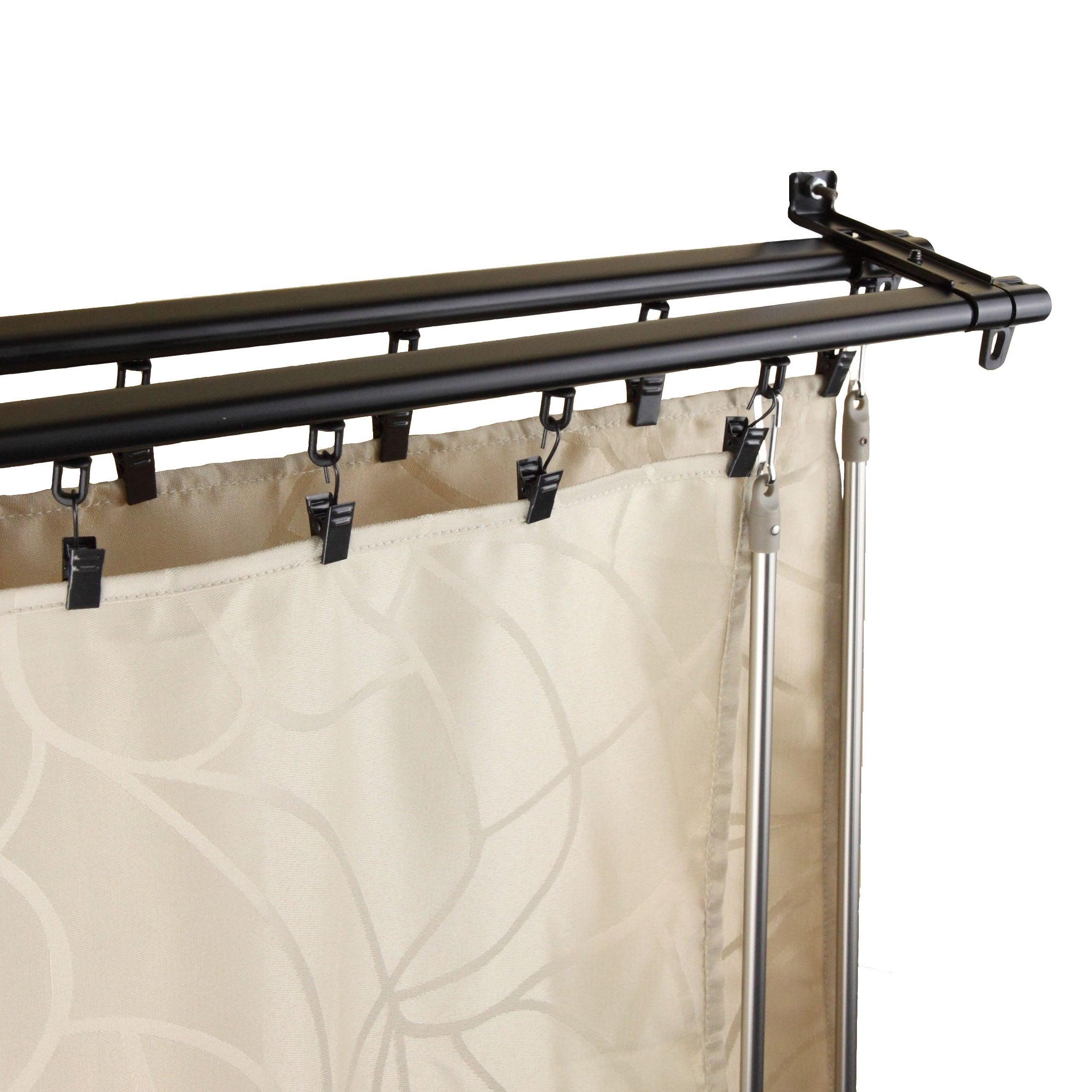 Shop Instyledesign Regal Black Adjustable Double Curtain Rod Track