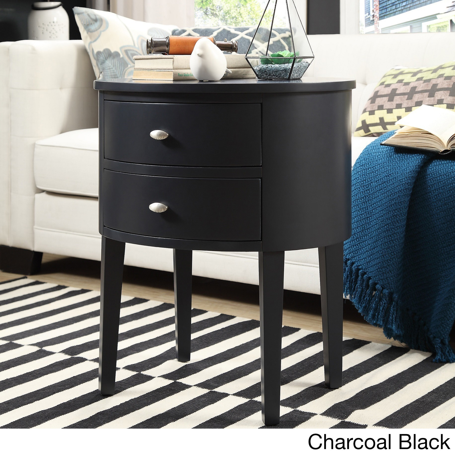 Aldine  Drawer Oval Wood Accent Table By Inspire Q Bold Free Shipping Today Overstock Com