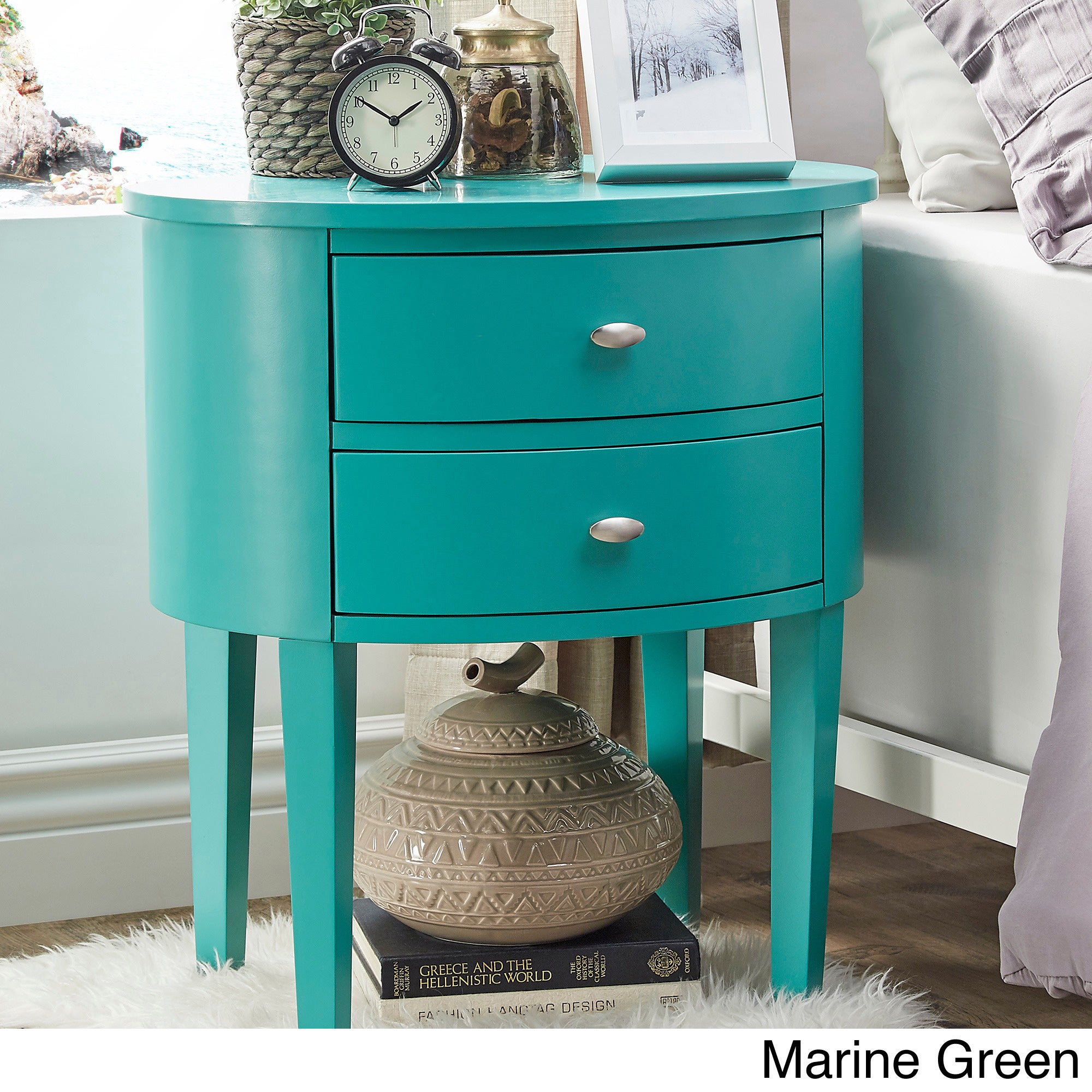 Shop Aldine 2-drawer Oval Wood Accent Table by iNSPIRE Q Bold - On ...