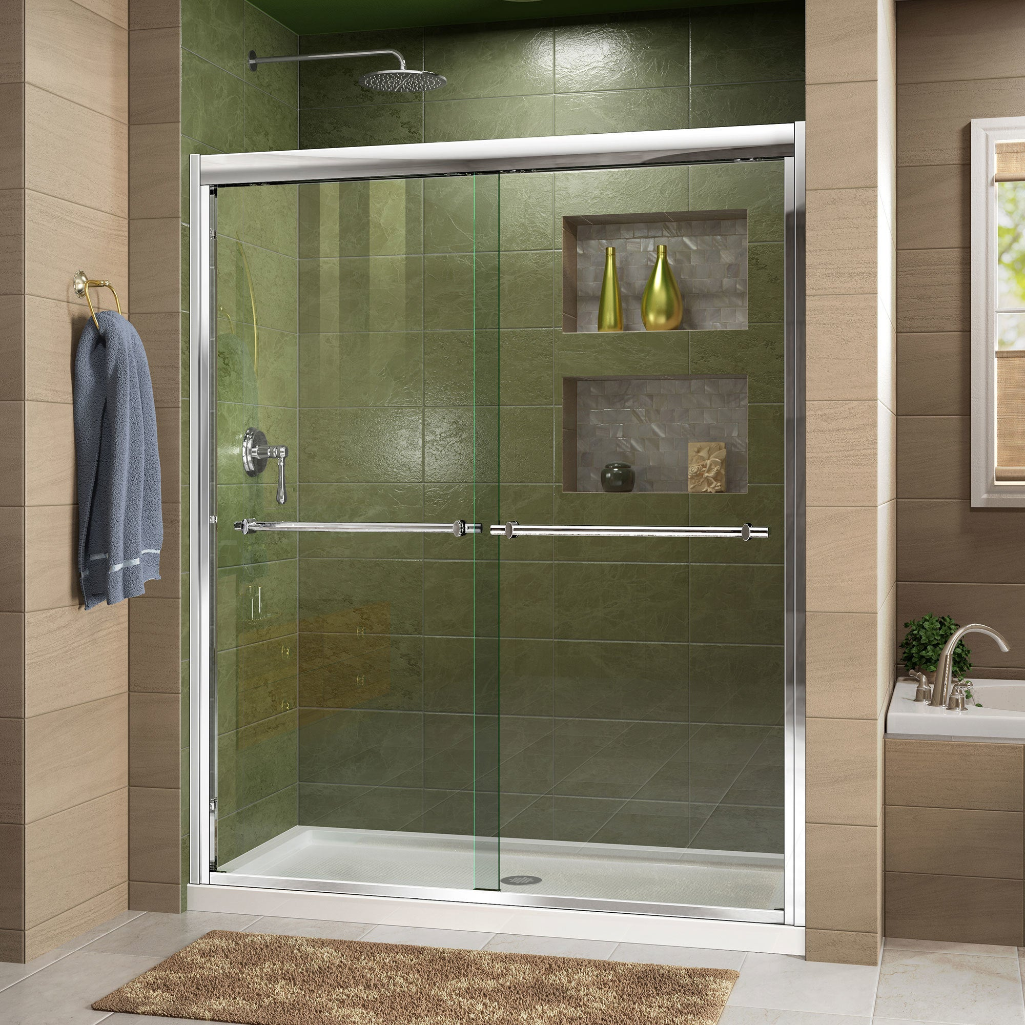 DreamLine Duet Frameless Bypass Sliding Shower Door and SlimLine 36 ...
