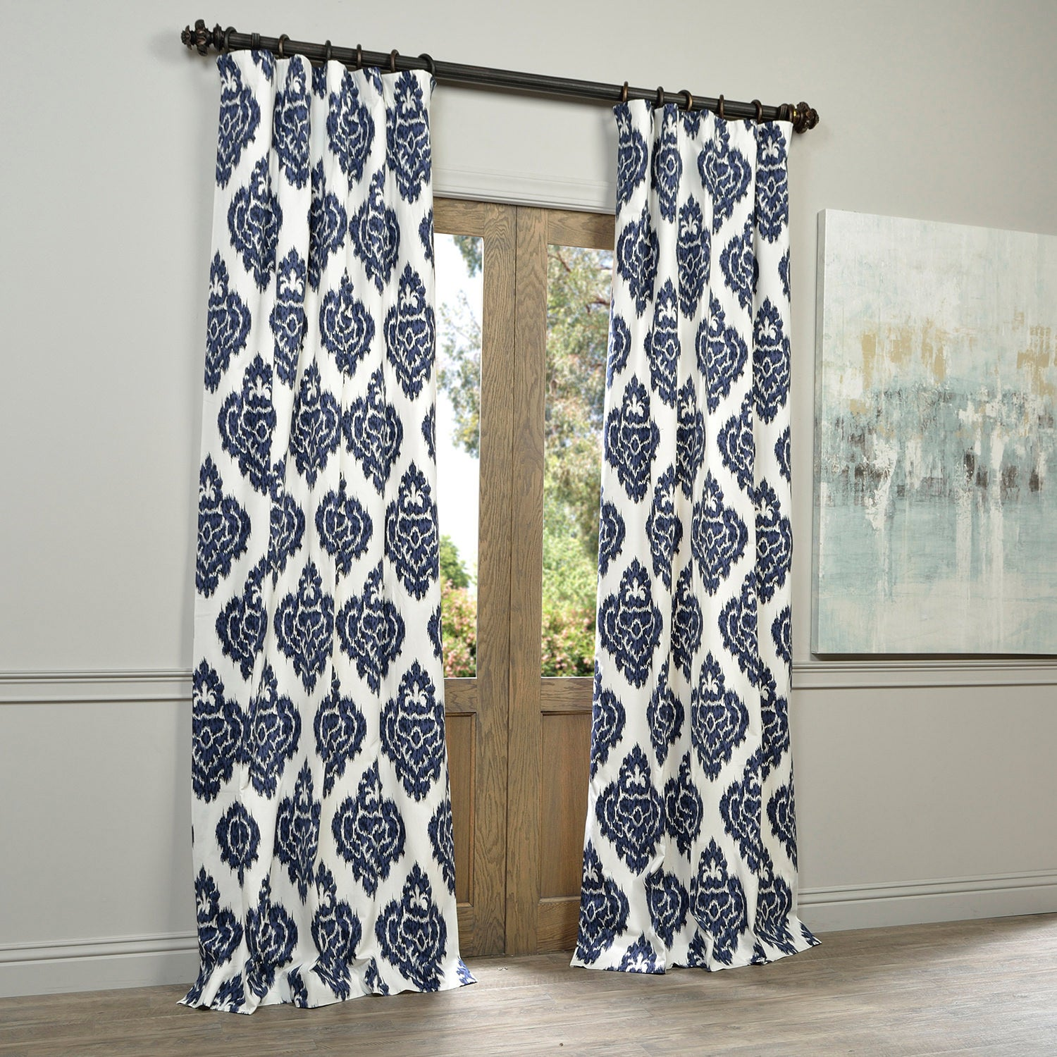 Shop Exclusive Fabrics Ikat Blue Printed Cotton Curtain Panel   On Sale    Free Shipping On Orders Over $45   Overstock.com   8232606