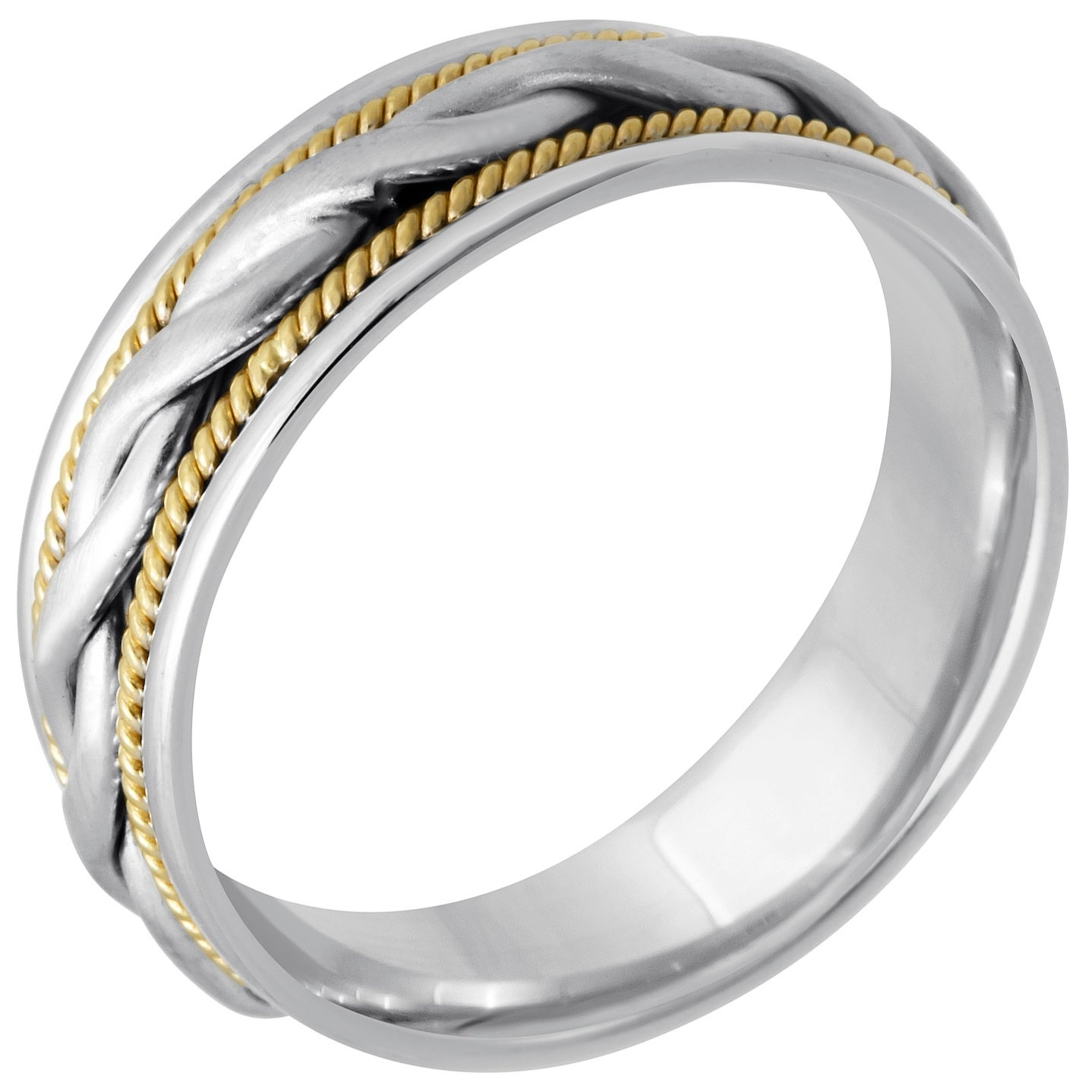 Shop 14k Twotone Gold Twist Braid Design Fort Fit Men's Wedding Bands Free Shipping Today Overstock 8236507: Twisted Two Tone Wedding Bands At Websimilar.org