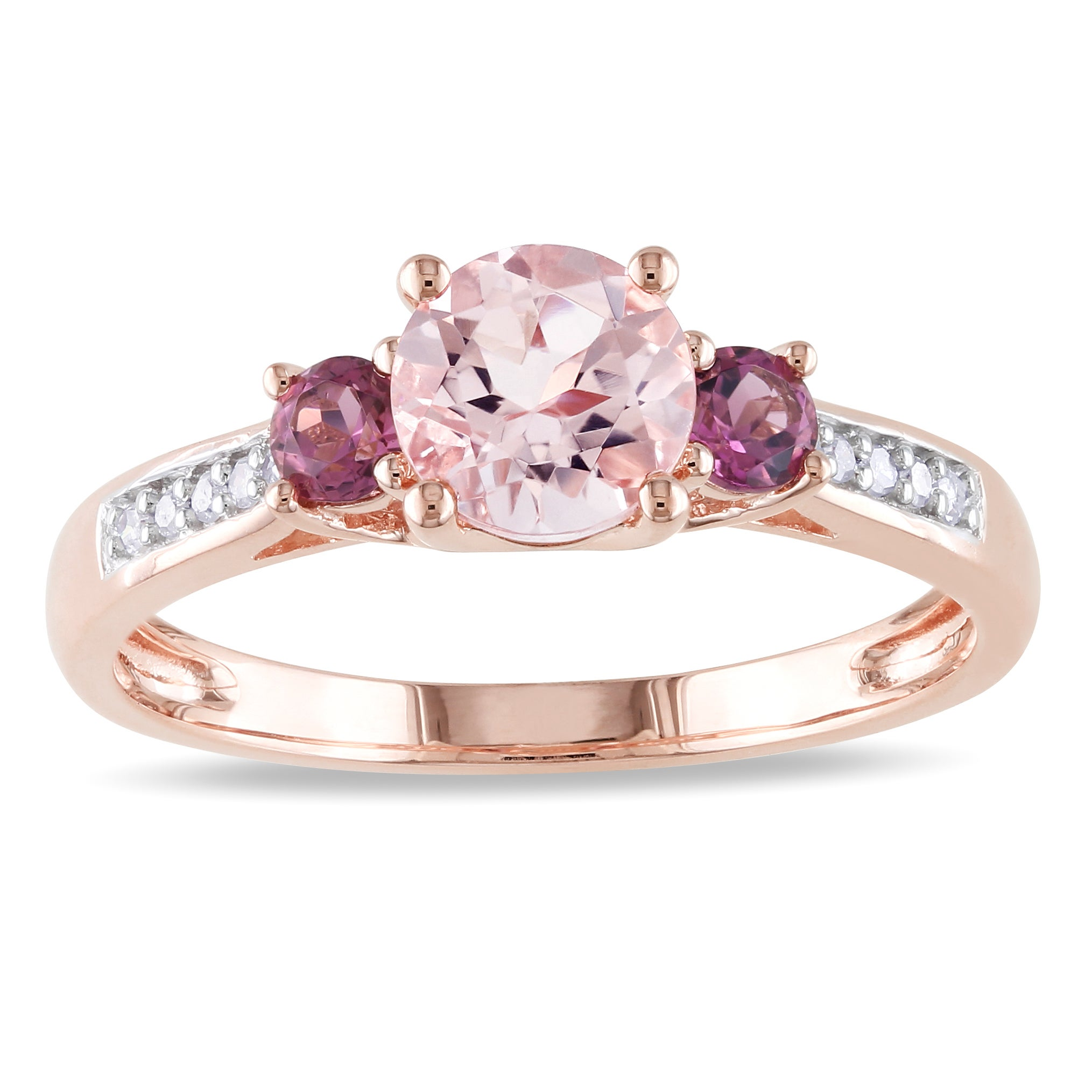 in rings gold ruby pink white tw ring three stone diamond halo engagement with