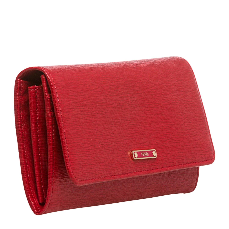 85ed3a3607 Fendi 'Elite' Bright Red Vitello-Leather Continental Wallet