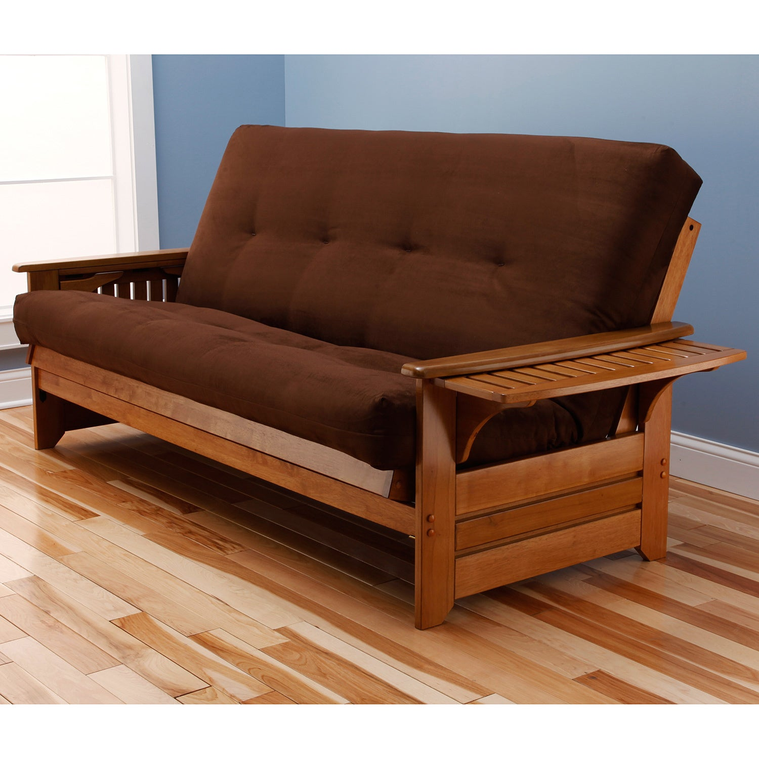 Havenside Home Okaloosa Honey Oak Full Size Wood Futon Frame With Innerspring Suede Mattress Free Shipping Today Com 8239187