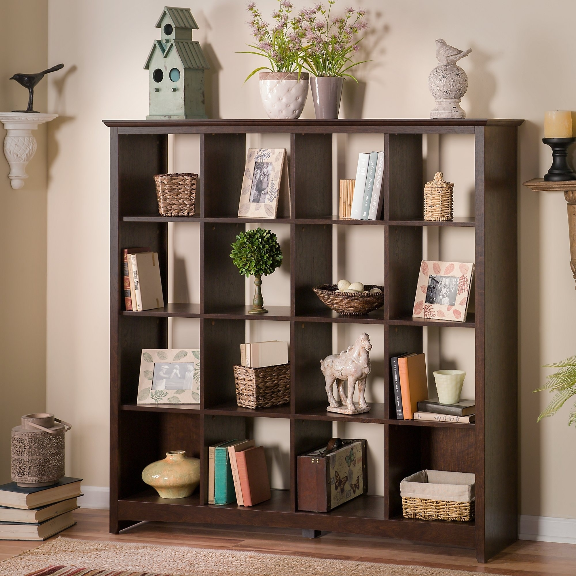 Superbe Shop Bush Furniture Buena Vista 16 Cube Bookcase In Madison Cherry   Free  Shipping Today   Overstock.com   8239845
