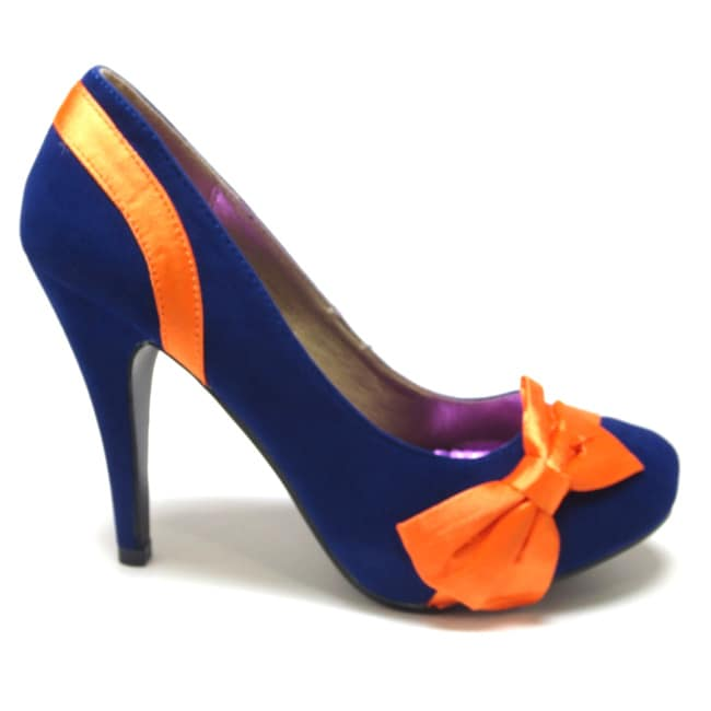 5f731703c20 Shop Luv s Women  Catucia  Suede and Satin Bow-topped Pumps - Free Shipping  On Orders Over  45 - Overstock - 8239883