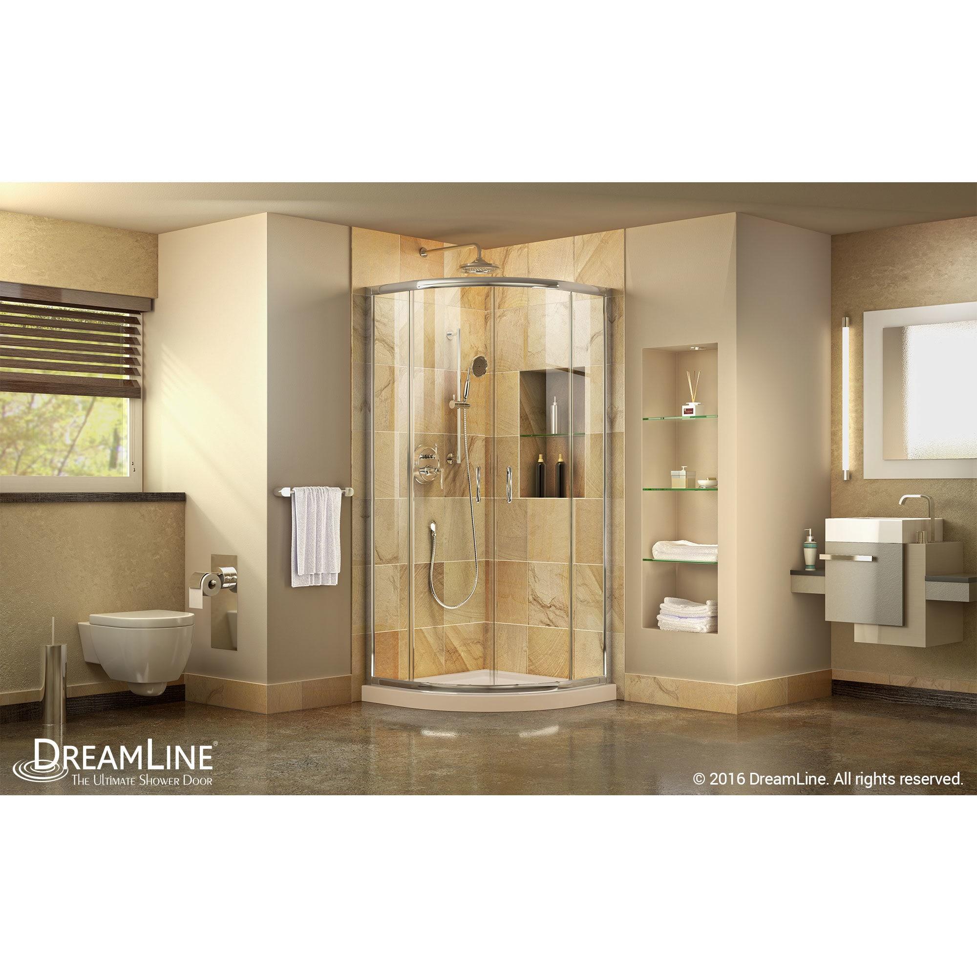 Shop DreamLine Prime Frameless Sliding Shower Enclosure And SlimLine 36 In.  By 36 In. Quarter Round Shower Floor   Free Shipping Today   Overstock.com    ...