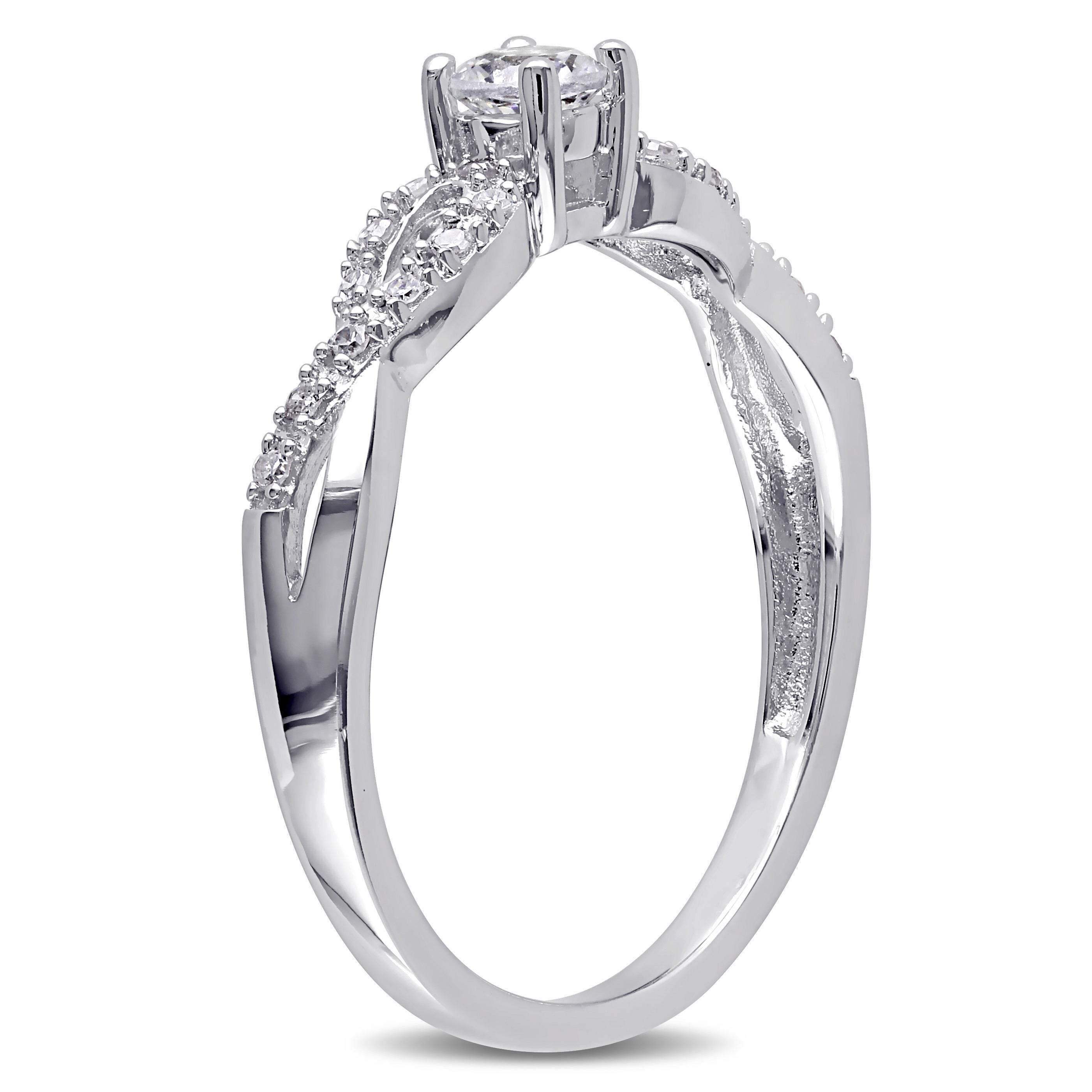 27dfd755f18 Shop Miadora Sterling Silver Created White Sapphire and 1 10ct TDW Diamond  Infinity Promise Ring - On Sale - Free Shipping Today - Overstock - 8252083