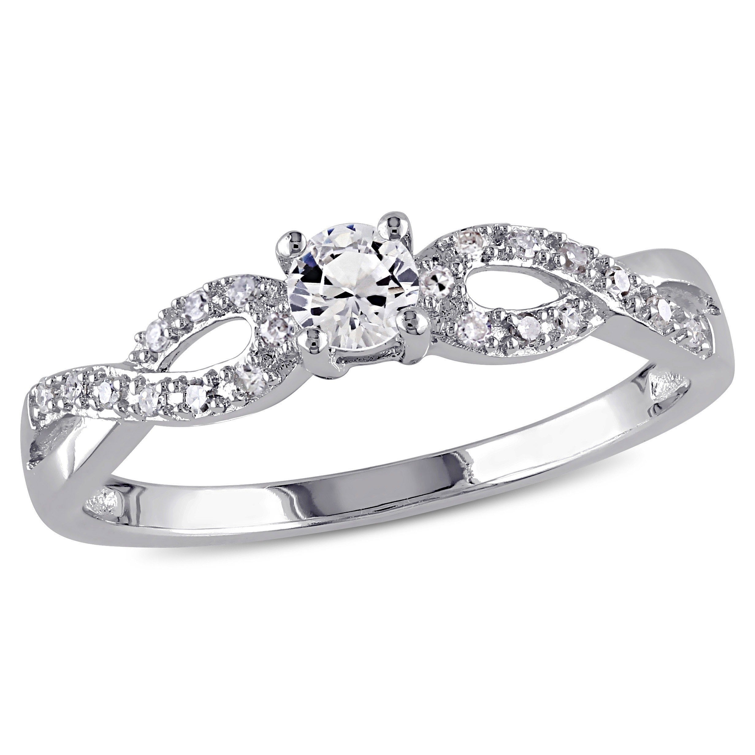 f5f2823996 Miadora Sterling Silver Created White Sapphire and 1/10ct TDW Diamond  Infinity Promise Ring