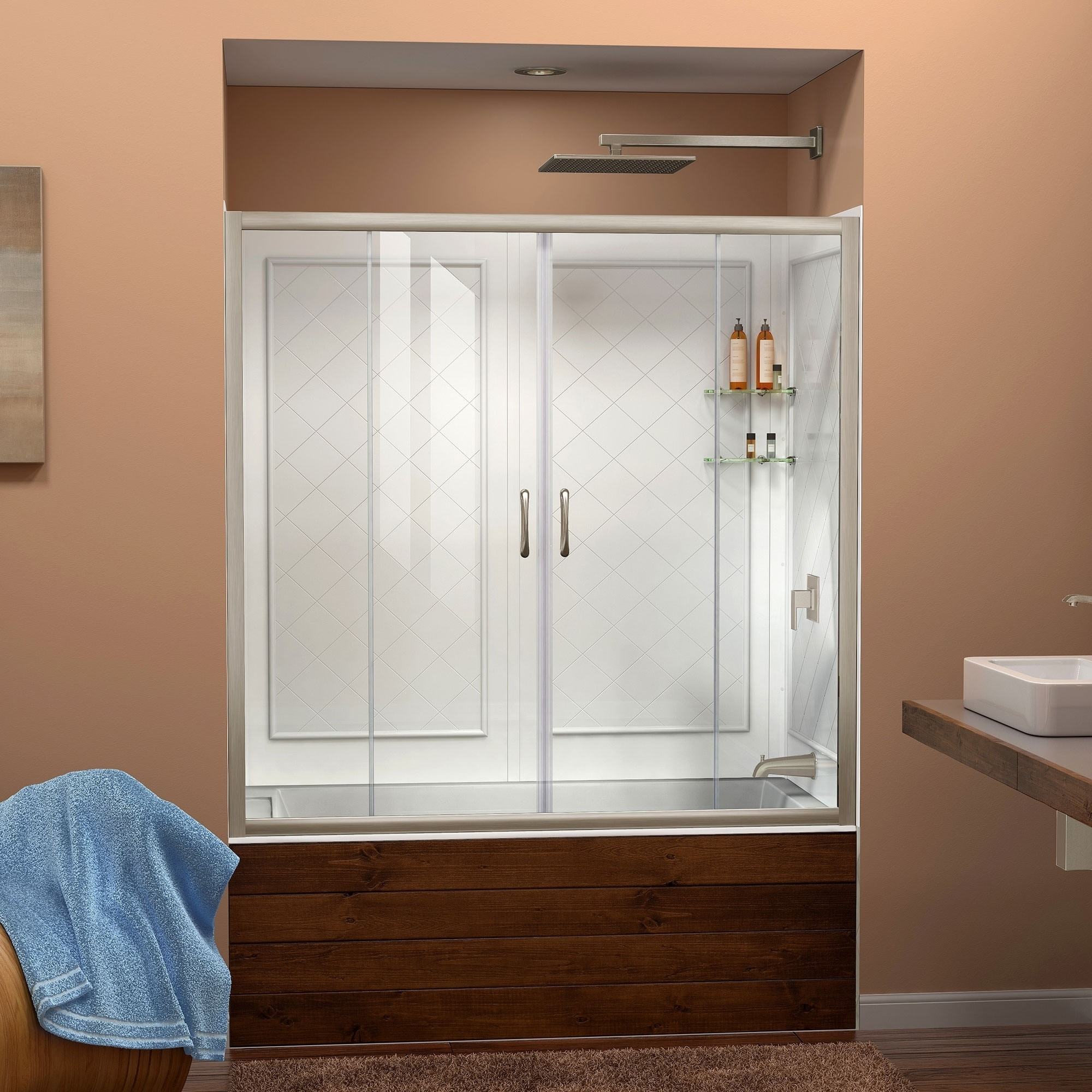 Shop Dreamline Visions 56 60 In W X 60 In H Sliding Tub Door And