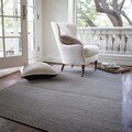 Hand-woven Poplin Charcoal Wool/ Cotton Rug (7'10 x 11)