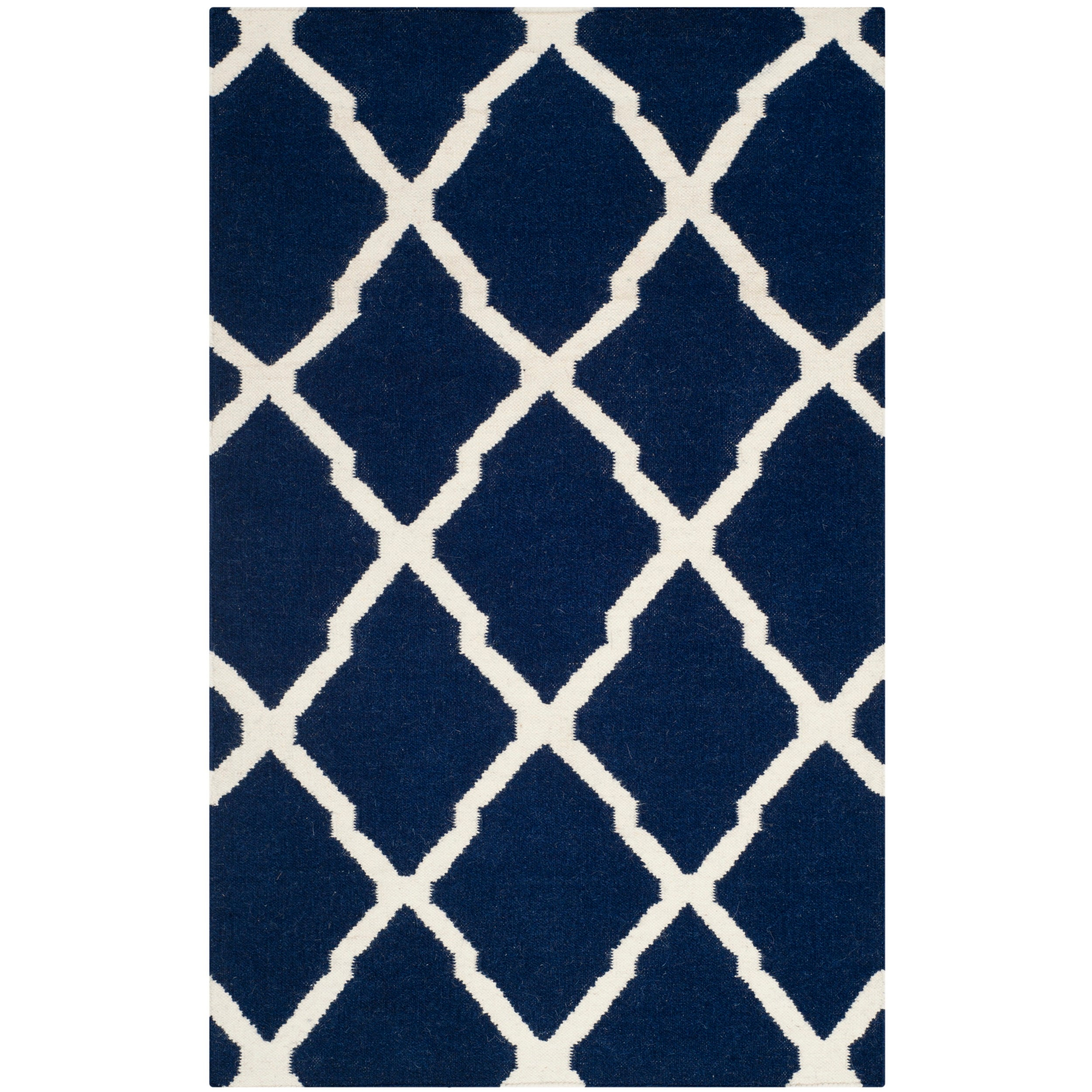 Safavieh Hand Woven Moroccan Reversible Dhurrie Navy Wool Rug 4 X 6 On Free Shipping Today 8260246