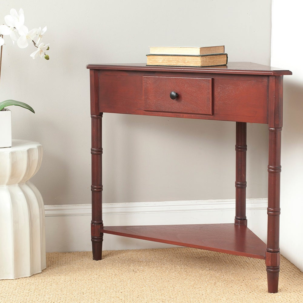 Corner table with shelves and drawers