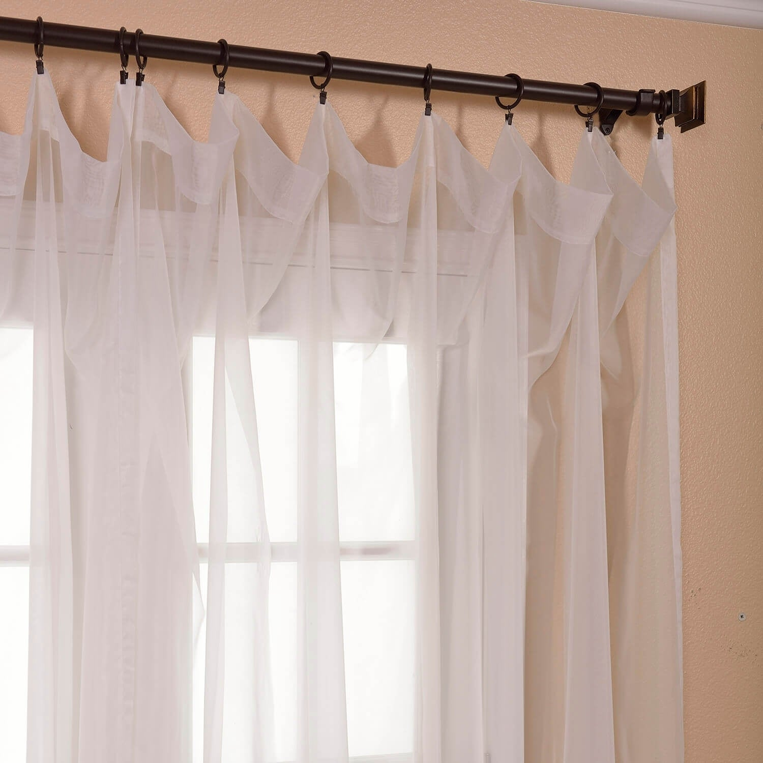 Exclusive Fabrics White Doublewide Voile Sheer Curtain Panel   Free  Shipping On Orders Over $45   Overstock.com   15595544