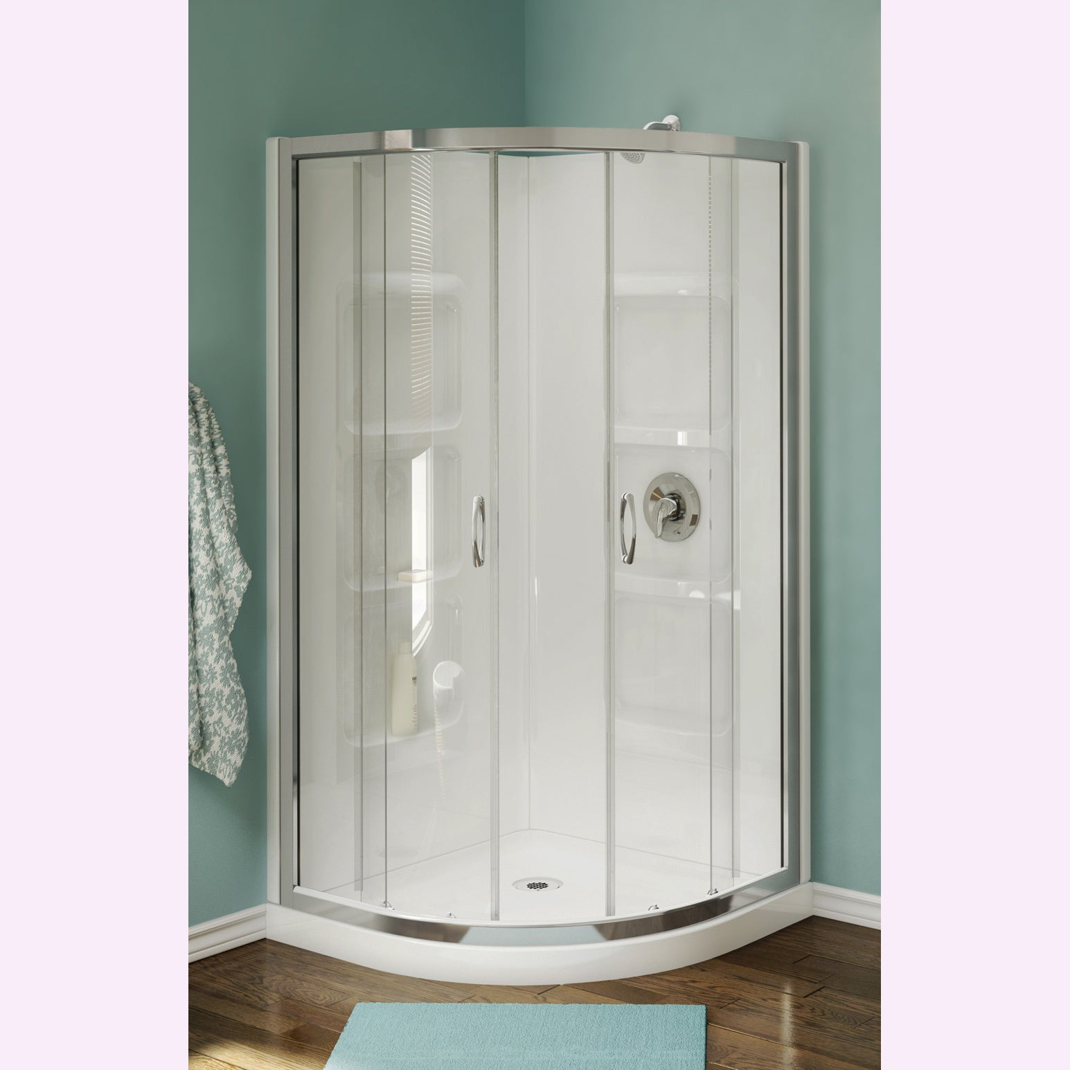 Shop Nevada 38-inch Pure Acrylic Neo-Round Corner Shower Stall ...
