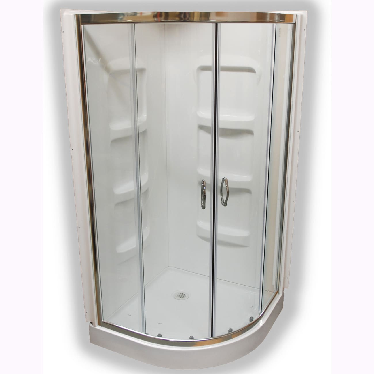 Shop Nevada 38 Inch Pure Acrylic Neo Round Corner Shower Stall   Free  Shipping Today   Overstock.com   8273805