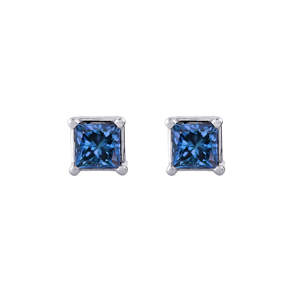 14k White Gold 1 4ct To 1ct Tdw Princess Cut Blue Diamond Stud Earrings Free Shipping Today 8273988