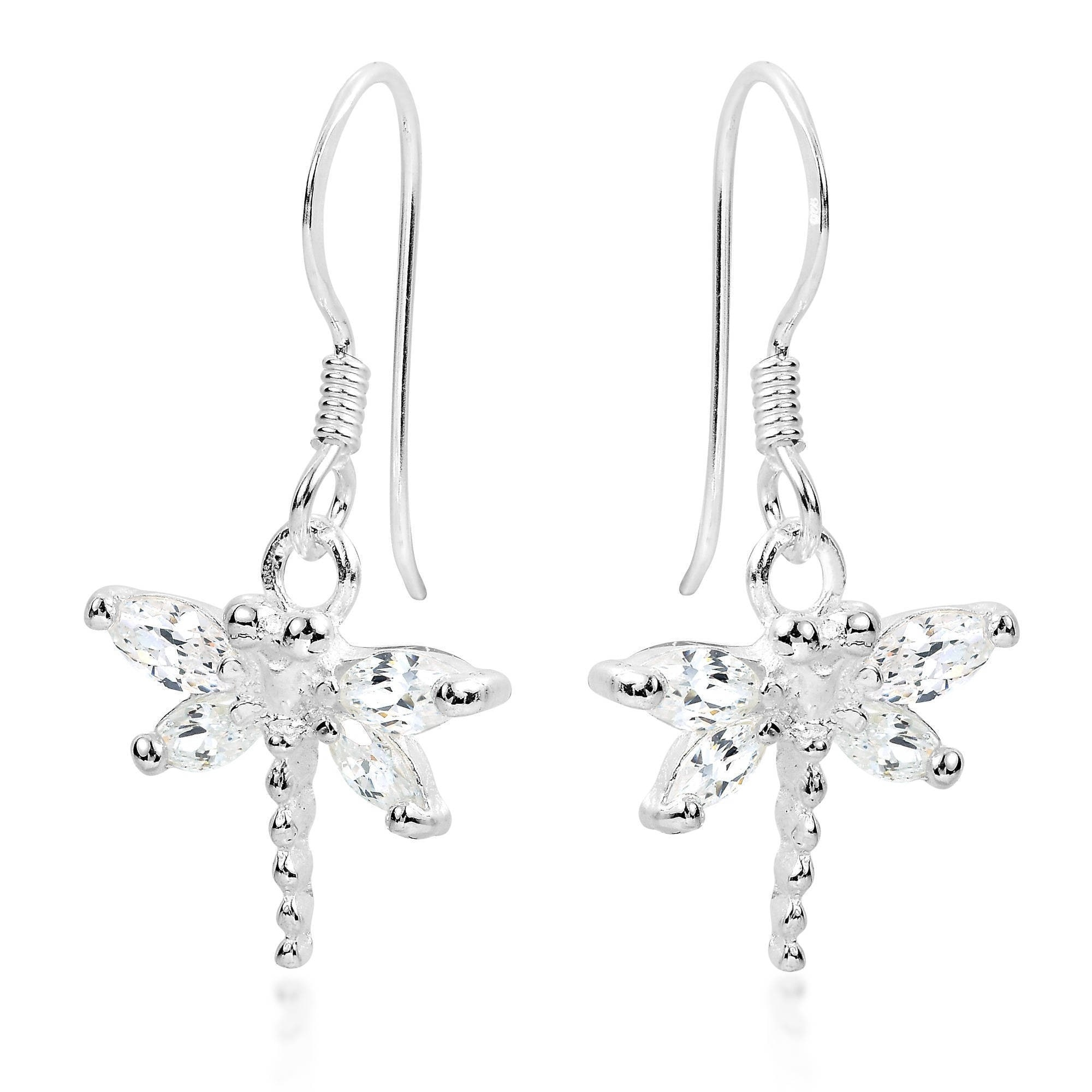 Beautiful Handmade Thai Design Dragonfly Earrings 925 Sterling Silver From Thailand pVIFCSc