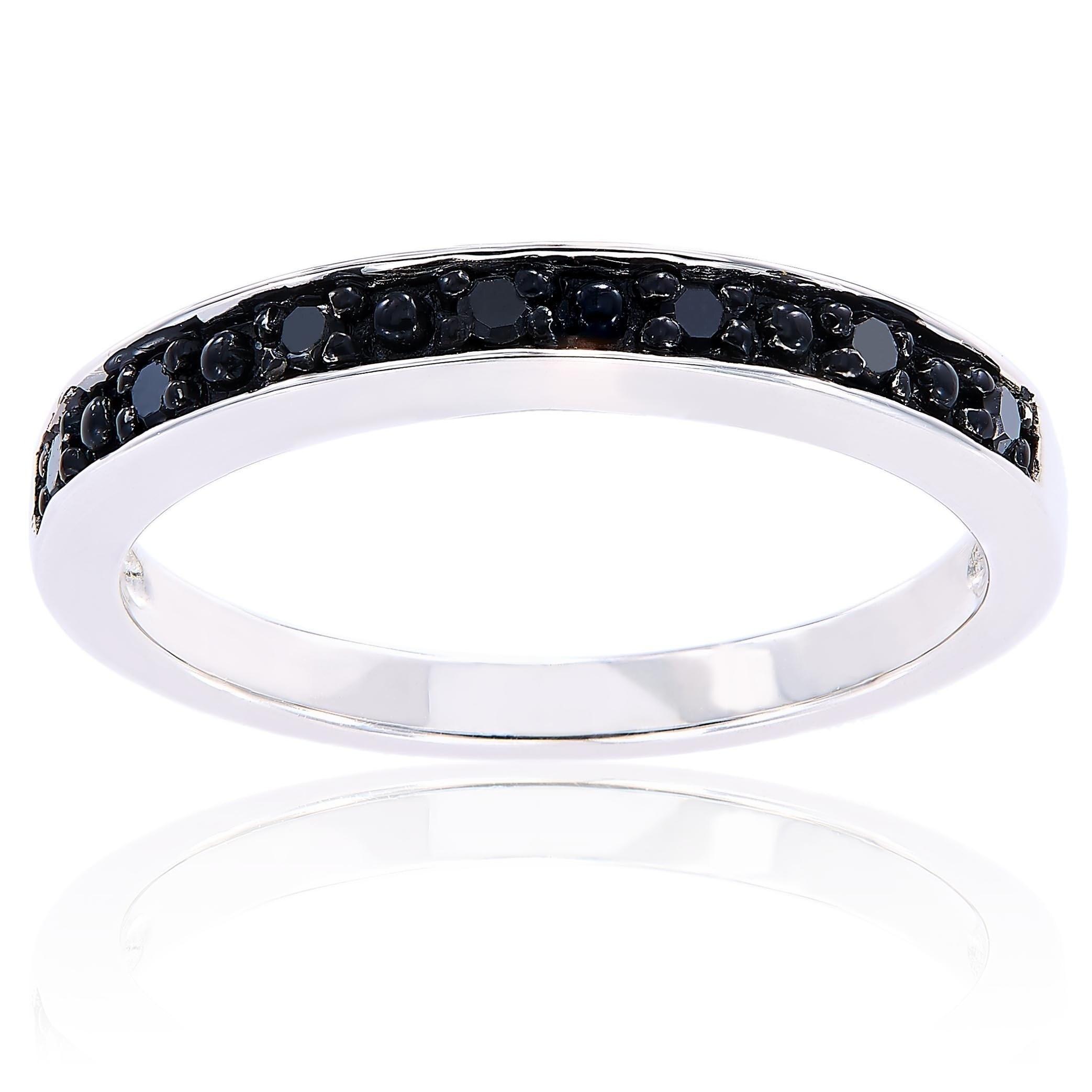 Shop Miadora Sterling Silver Black Diamond Stackable Anniversary