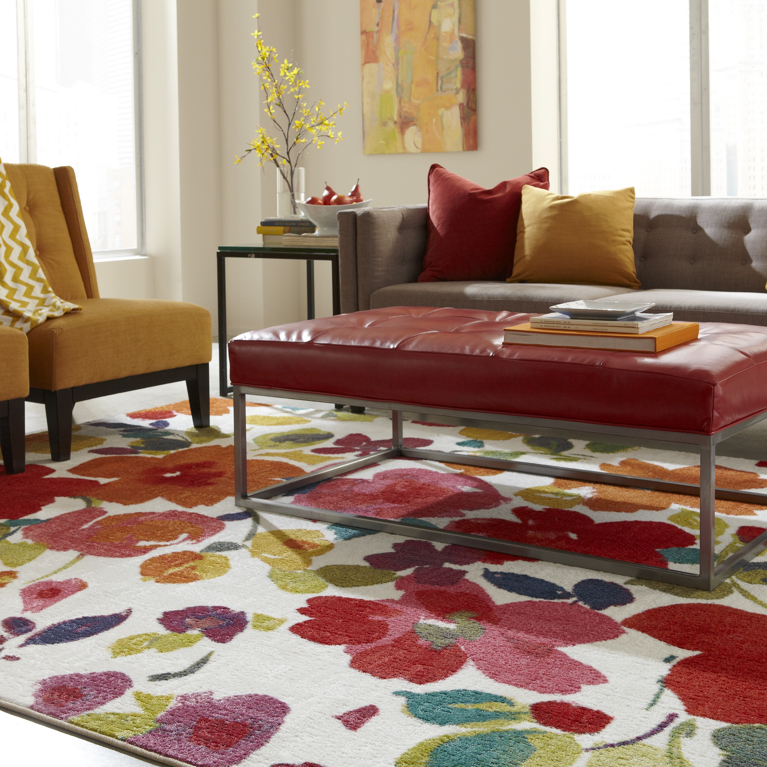 Mohawk Home Strata Bright Floral Toss Area Rug 7 6 x 10 Free